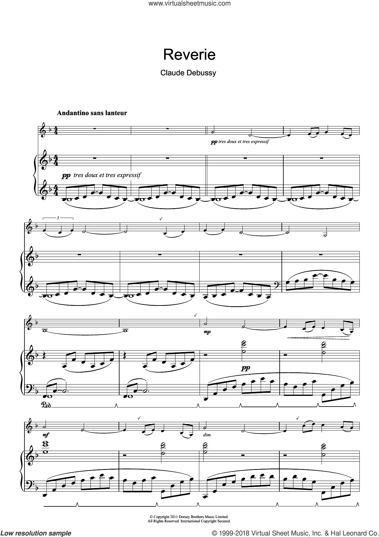Reverie sheet music for clarinet solo by Claude Debussy, classical score, intermediate skill level