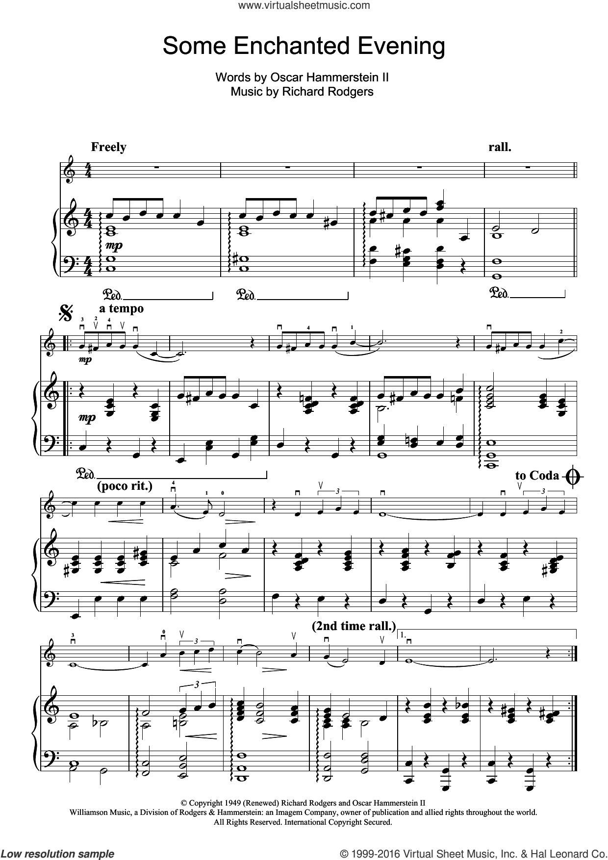 Some Enchanted Evening (from South Pacific) sheet music for violin solo by Richard Rodgers