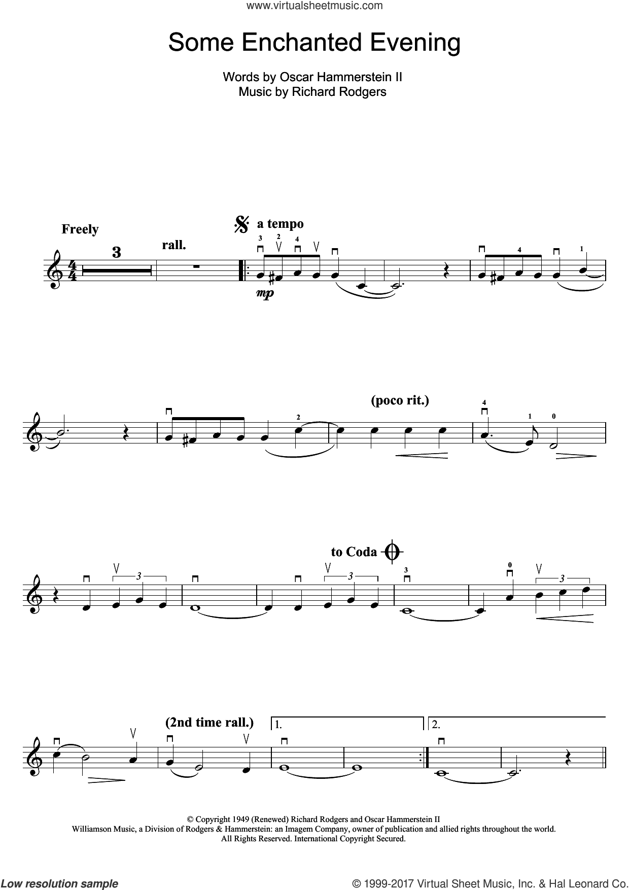 Some Enchanted Evening (from South Pacific) sheet music for violin solo by Rodgers & Hammerstein, Oscar II Hammerstein and Richard Rodgers, intermediate skill level