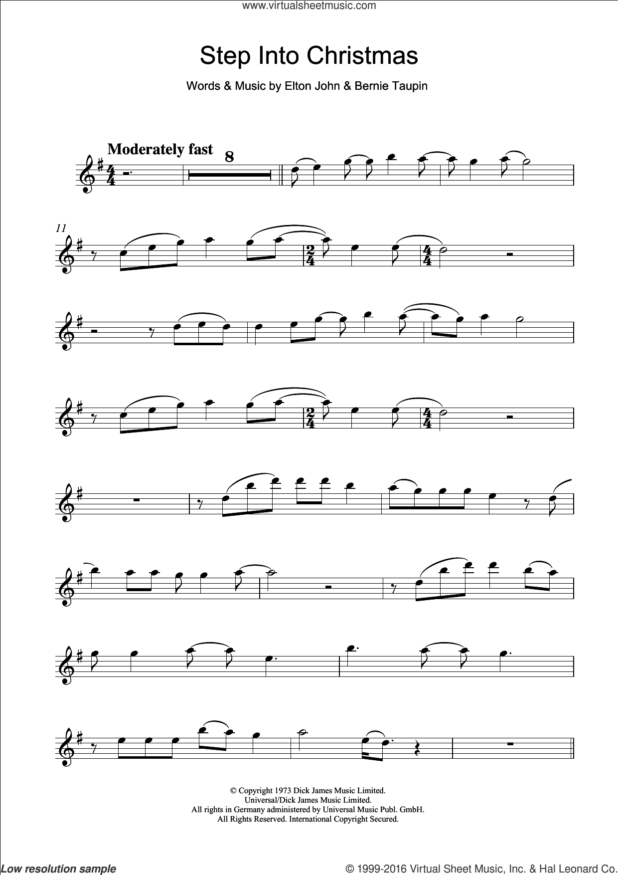 Step Into Christmas sheet music for clarinet solo by Elton John and Bernie Taupin, intermediate skill level