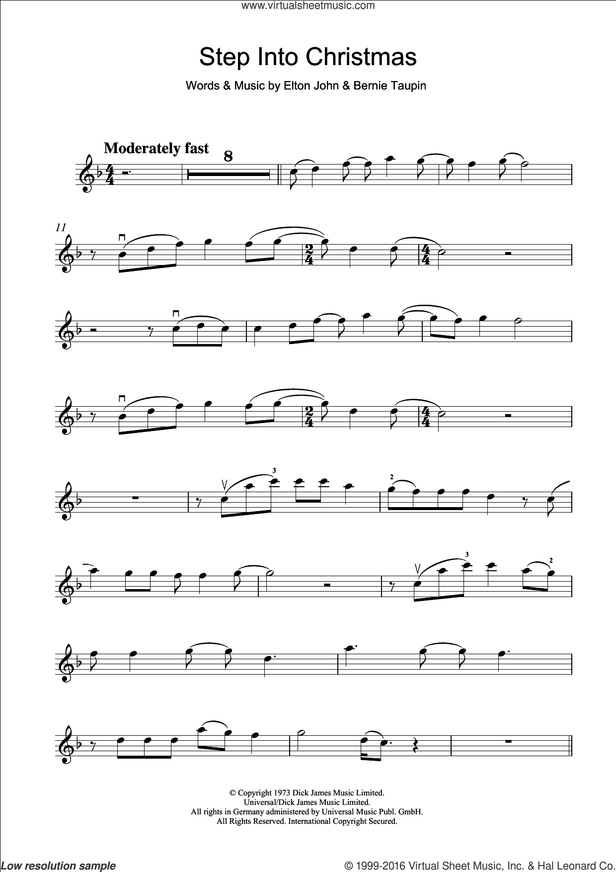 Step Into Christmas sheet music for violin solo by Bernie Taupin and Elton John. Score Image Preview.