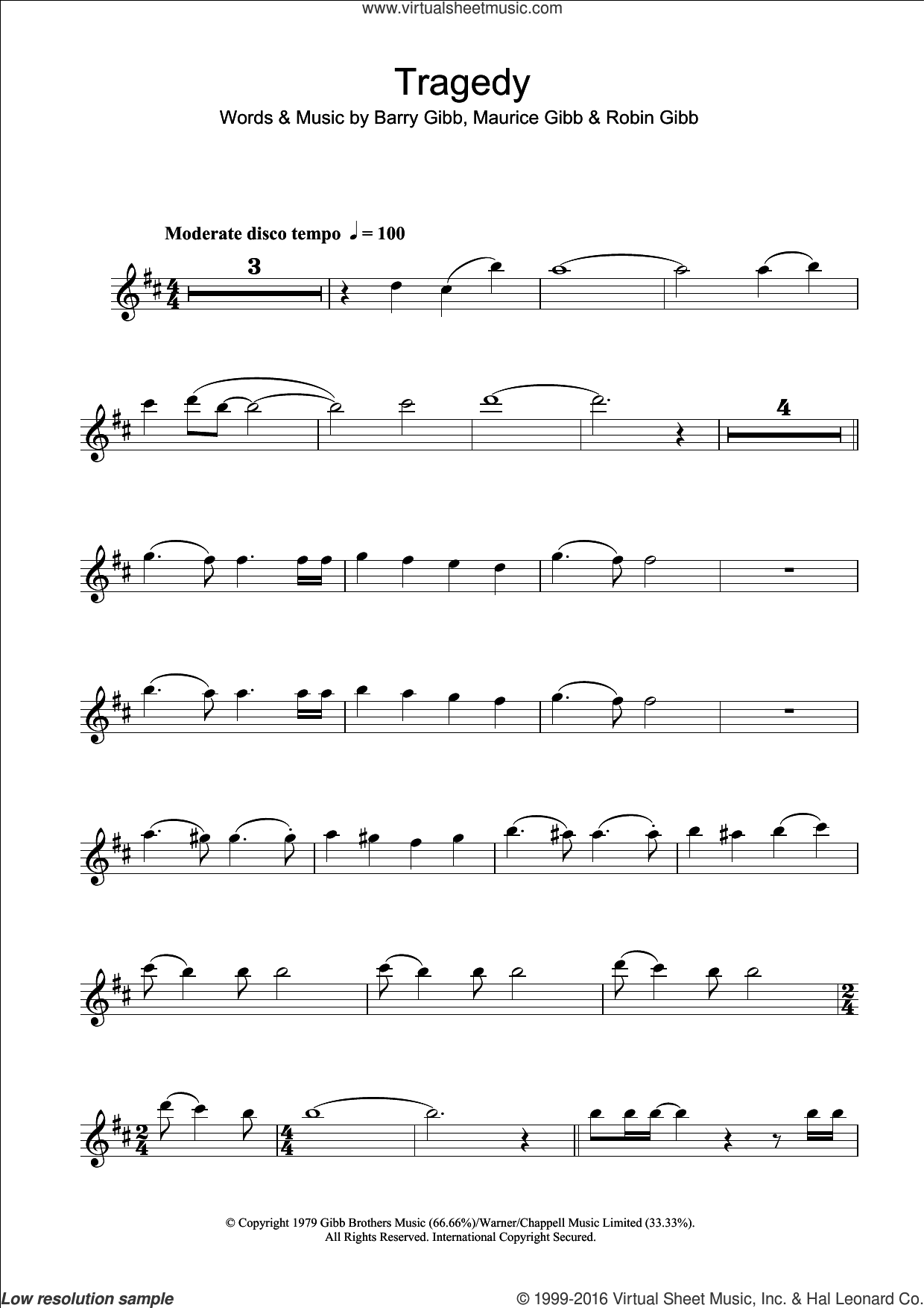 Tragedy sheet music for clarinet solo by Steps, Bee Gees, Barry Gibb, Maurice Gibb and Robin Gibb, intermediate skill level