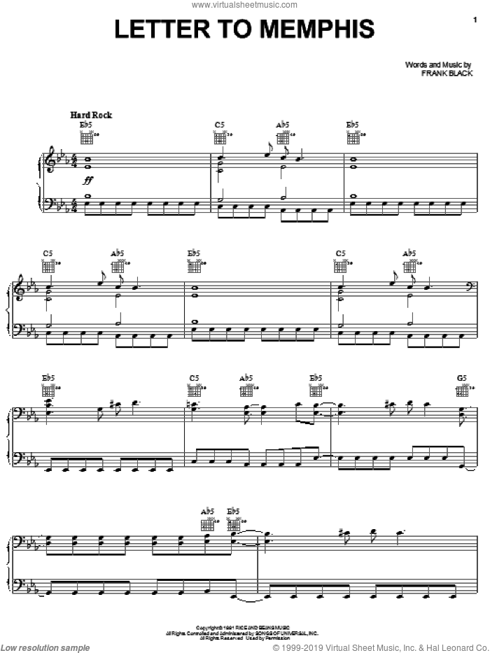 Letter To Memphis sheet music for voice, piano or guitar by Pixies and Francis Black, intermediate skill level