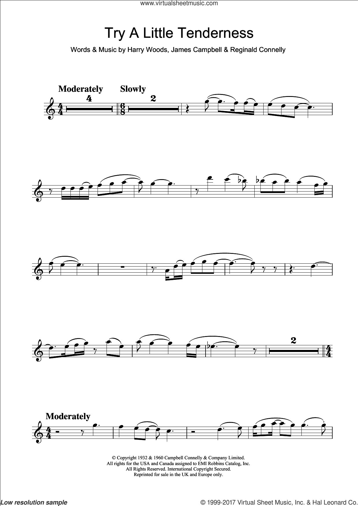 Try A Little Tenderness sheet music for clarinet solo by Otis Redding, The Commitments, Harry Woods, James Campbell and Reg Connelly, intermediate skill level