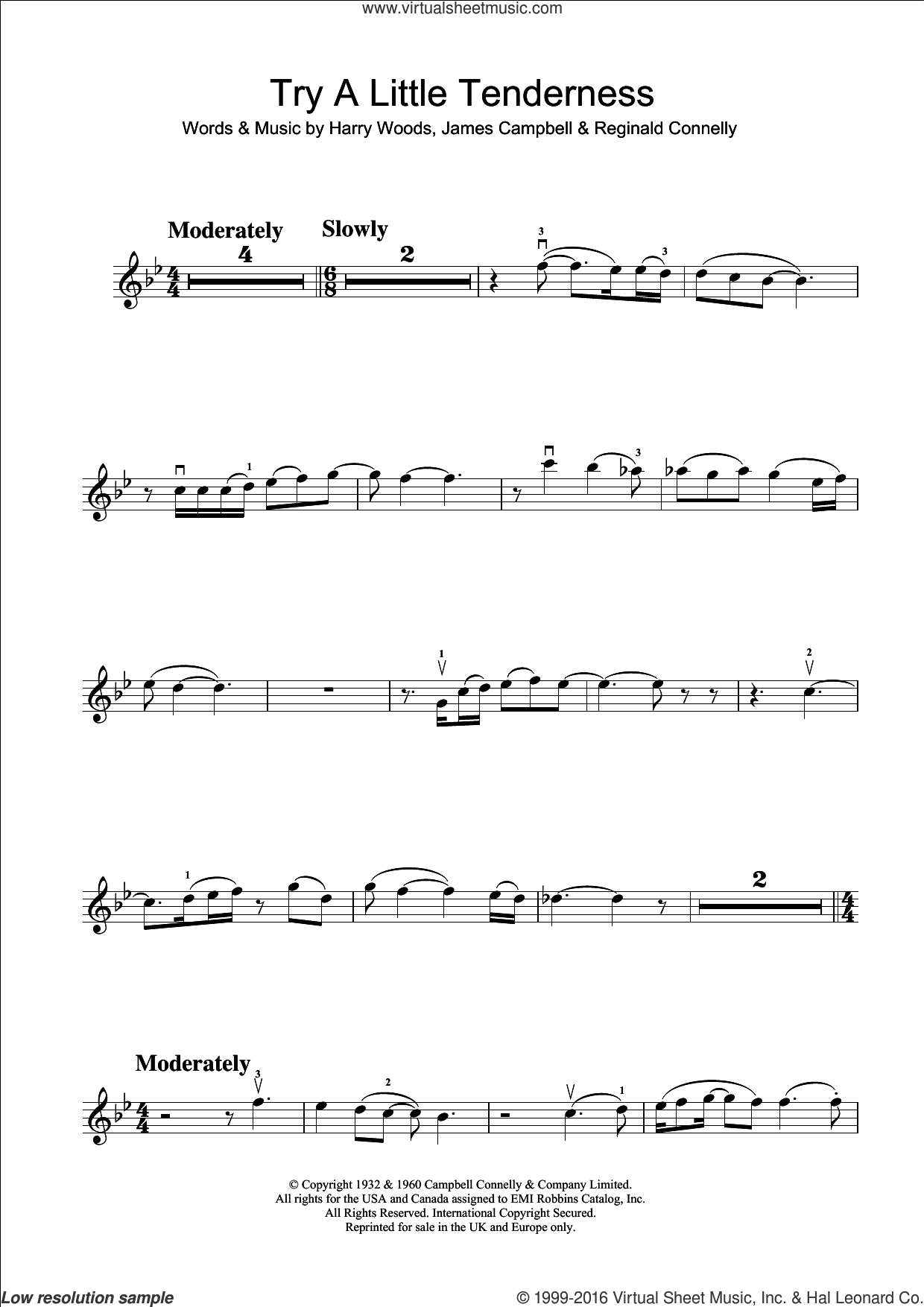 Try A Little Tenderness sheet music for violin solo by Reg Connelly, Otis Redding, The Commitments and Harry Woods. Score Image Preview.