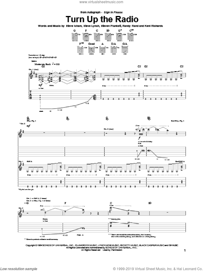 Turn Up The Radio sheet music for guitar (tablature) by Autograph, Keni Richards, Randy Rand, Steve Isham, Steve Lynch and Steven Plunkett, intermediate skill level