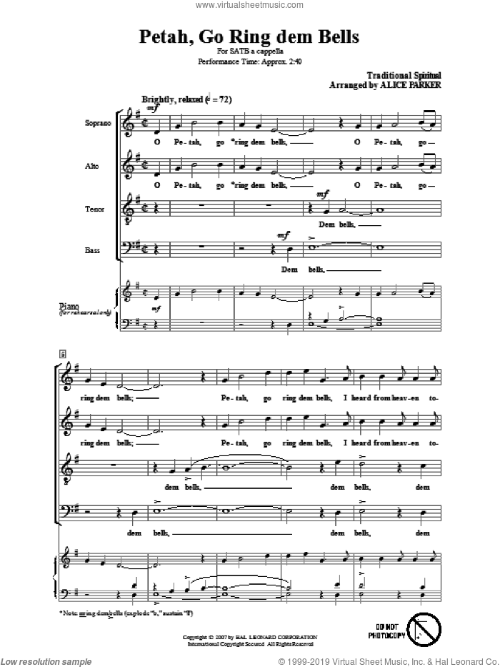 Petah, Go Ring Dem Bells sheet music for choir and piano (SATB)  and Alice Parker. Score Image Preview.