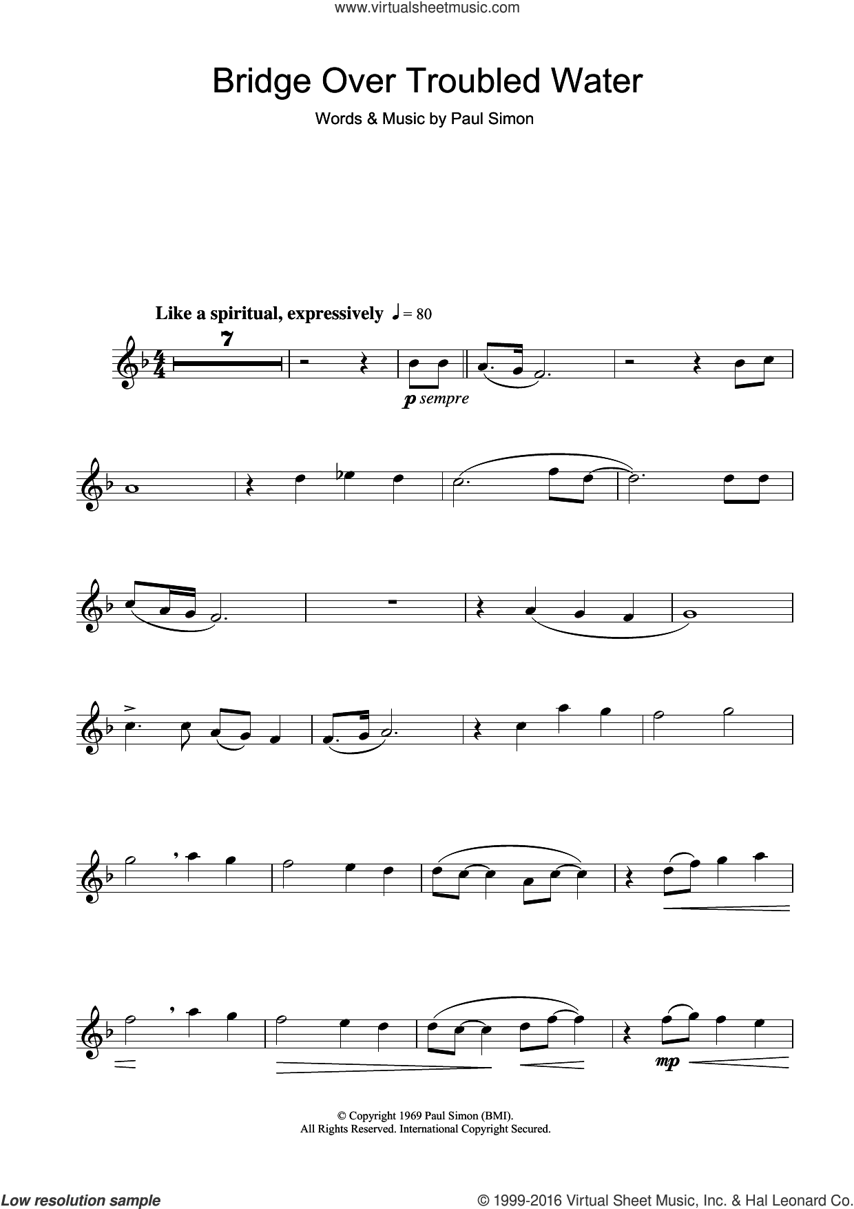 Bridge Over Troubled Water sheet music for flute solo by Simon & Garfunkel and Paul Simon. Score Image Preview.