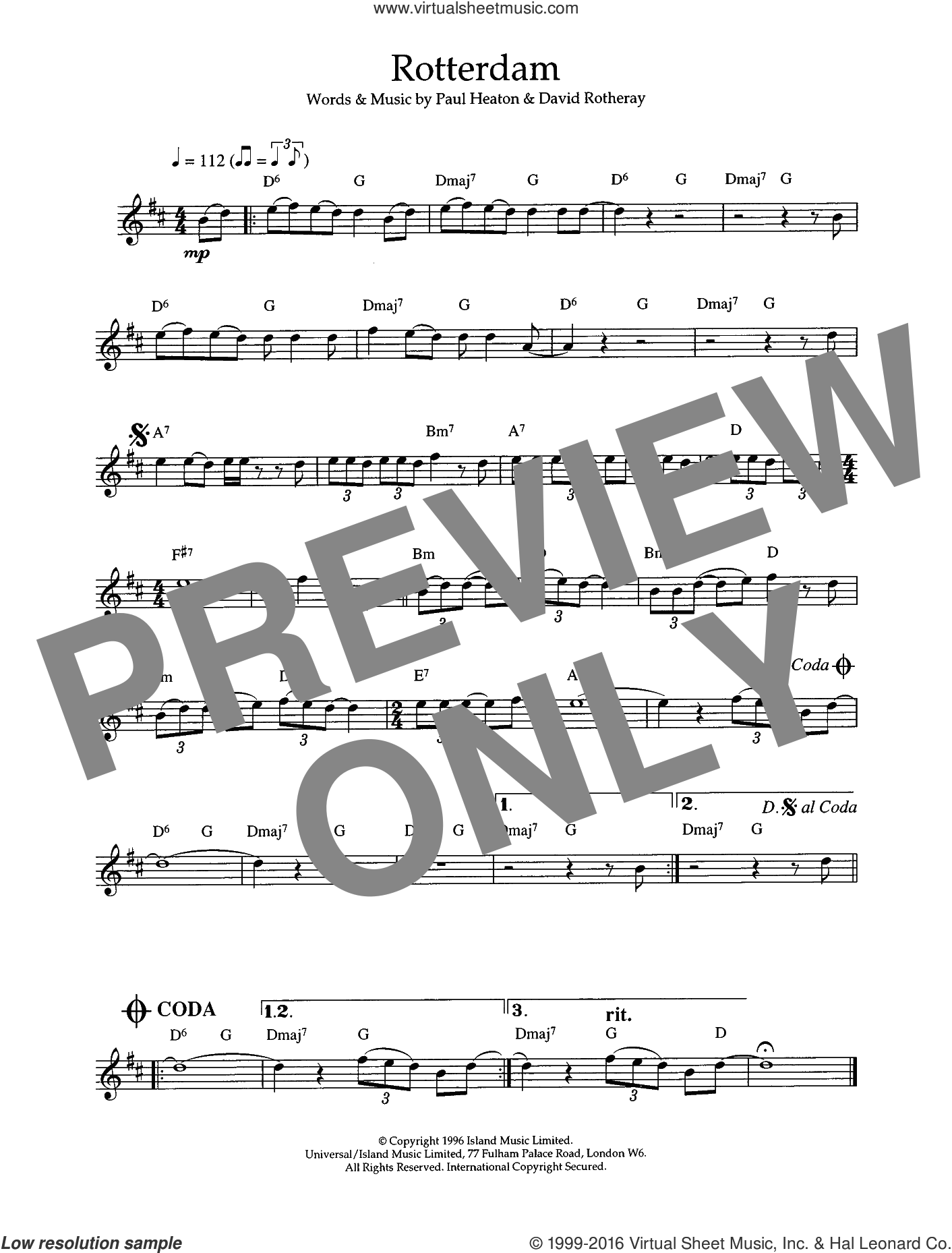 Rotterdam sheet music for flute solo by Paul Heaton, The Beautiful South and David Rotheray. Score Image Preview.
