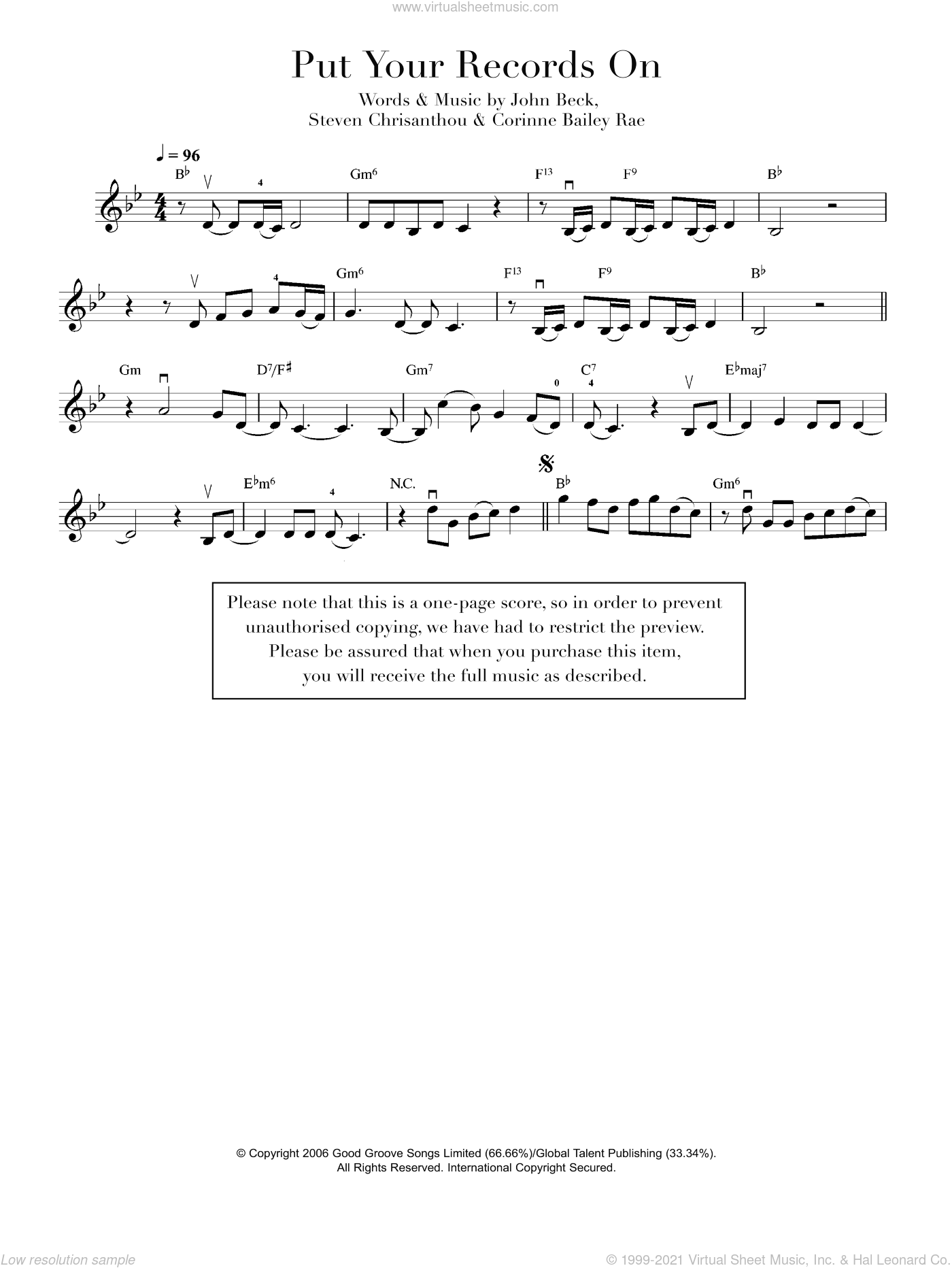 Put Your Records On sheet music for violin solo by Corinne Bailey Rae, intermediate violin. Score Image Preview.