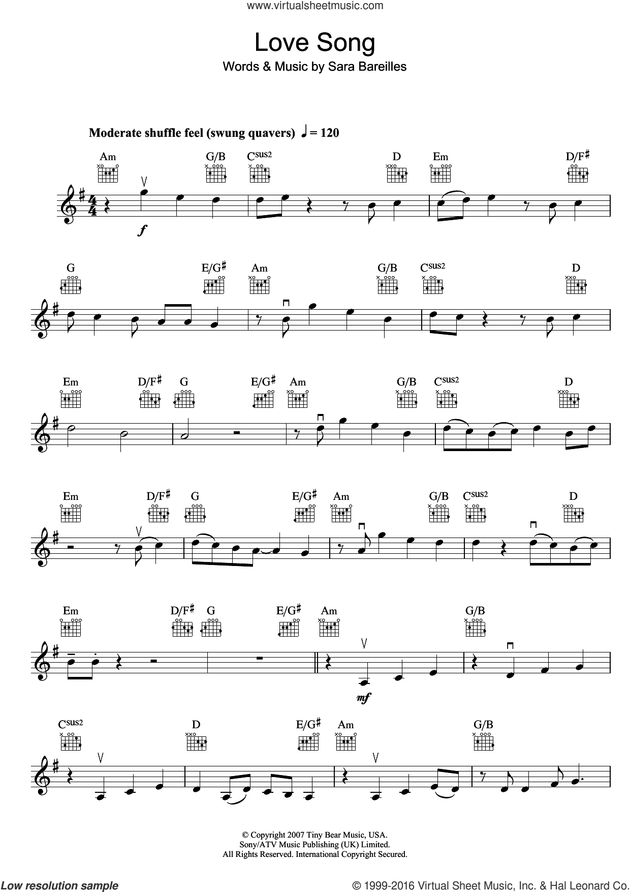 Love Song sheet music for violin solo by Sara Bareilles, intermediate skill level