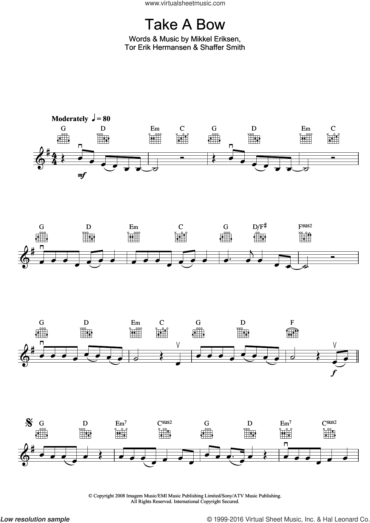 Take A Bow sheet music for violin solo by Tor Erik Hermansen, Rihanna, Mikkel Eriksen and Shaffer Smith. Score Image Preview.