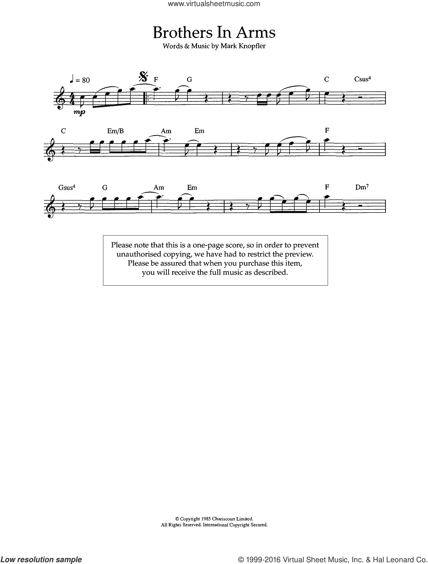 Brothers In Arms sheet music for flute solo by Dire Straits and Mark Knopfler, intermediate flute. Score Image Preview.