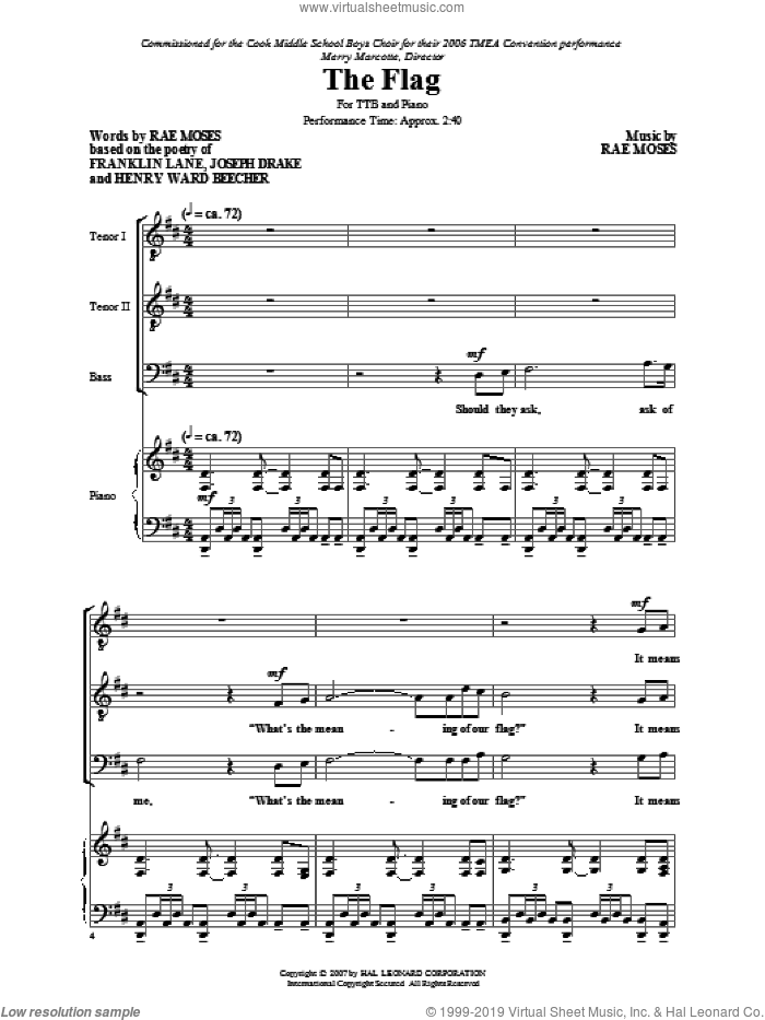The Flag sheet music for choir and piano (TTB) by Rae Moses