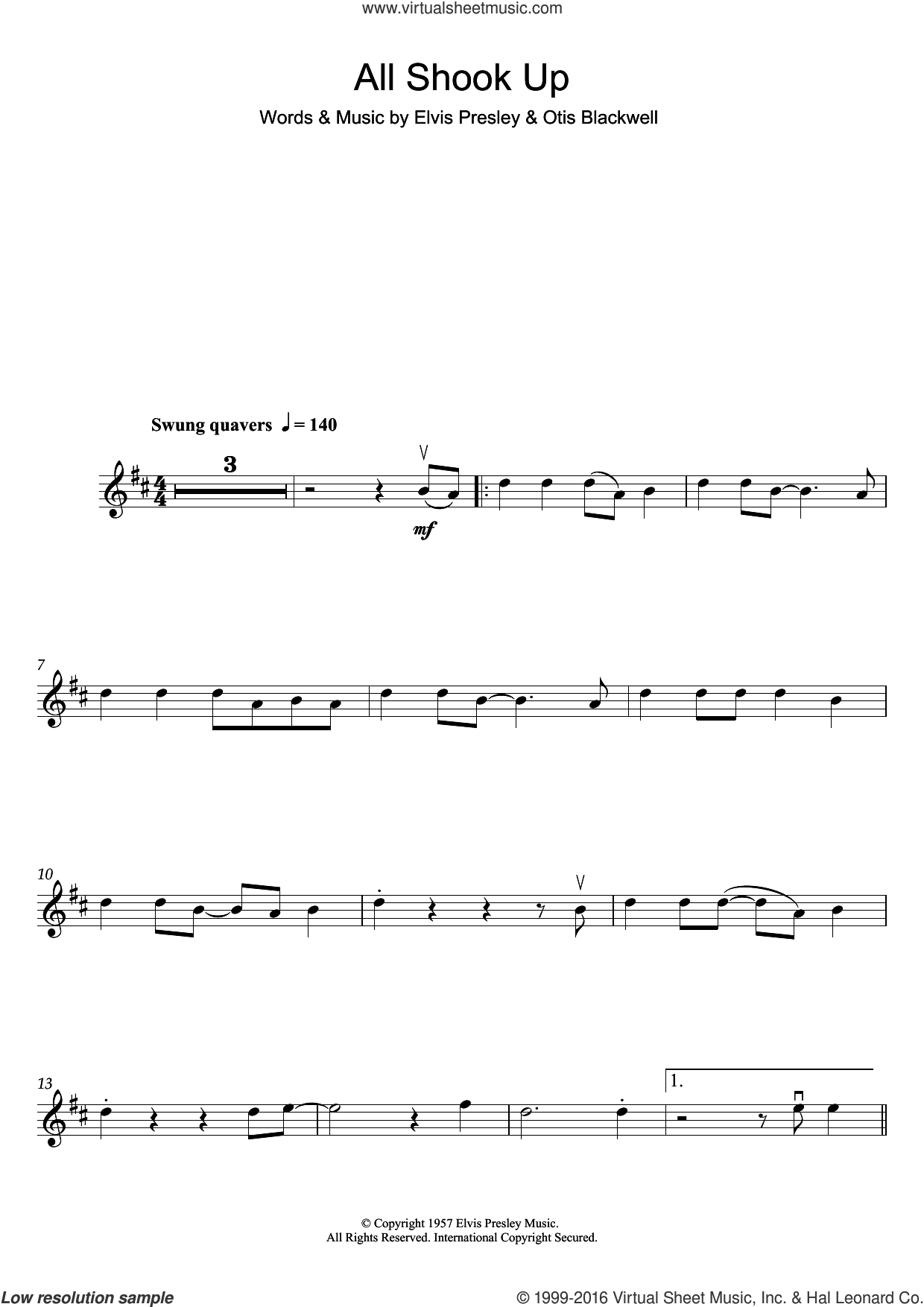 All Shook Up sheet music for violin solo by Elvis Presley and Otis Blackwell, intermediate skill level