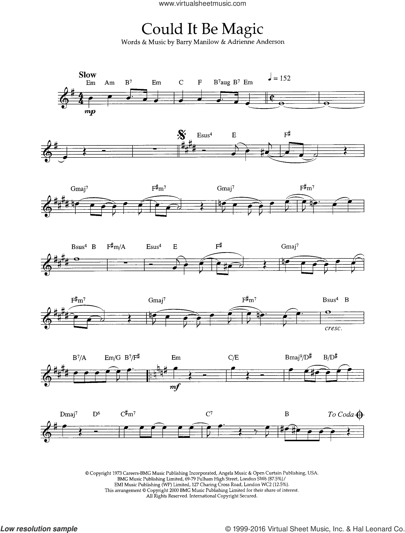 Could It Be Magic sheet music for flute solo by Barry Manilow. Score Image Preview.