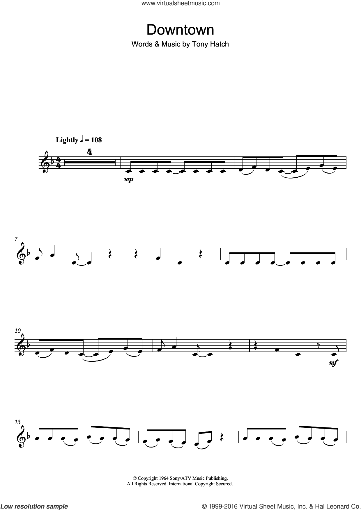 Downtown sheet music for clarinet solo by Petula Clark and Tony Hatch, intermediate skill level
