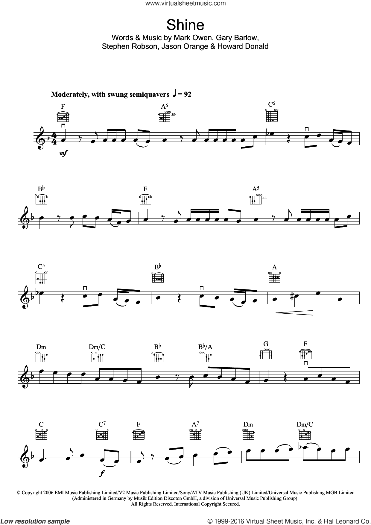 Shine sheet music for violin solo by Take That, Gary Barlow, Howard Donald, Jason Orange, Mark Owen and Steve Robson, intermediate