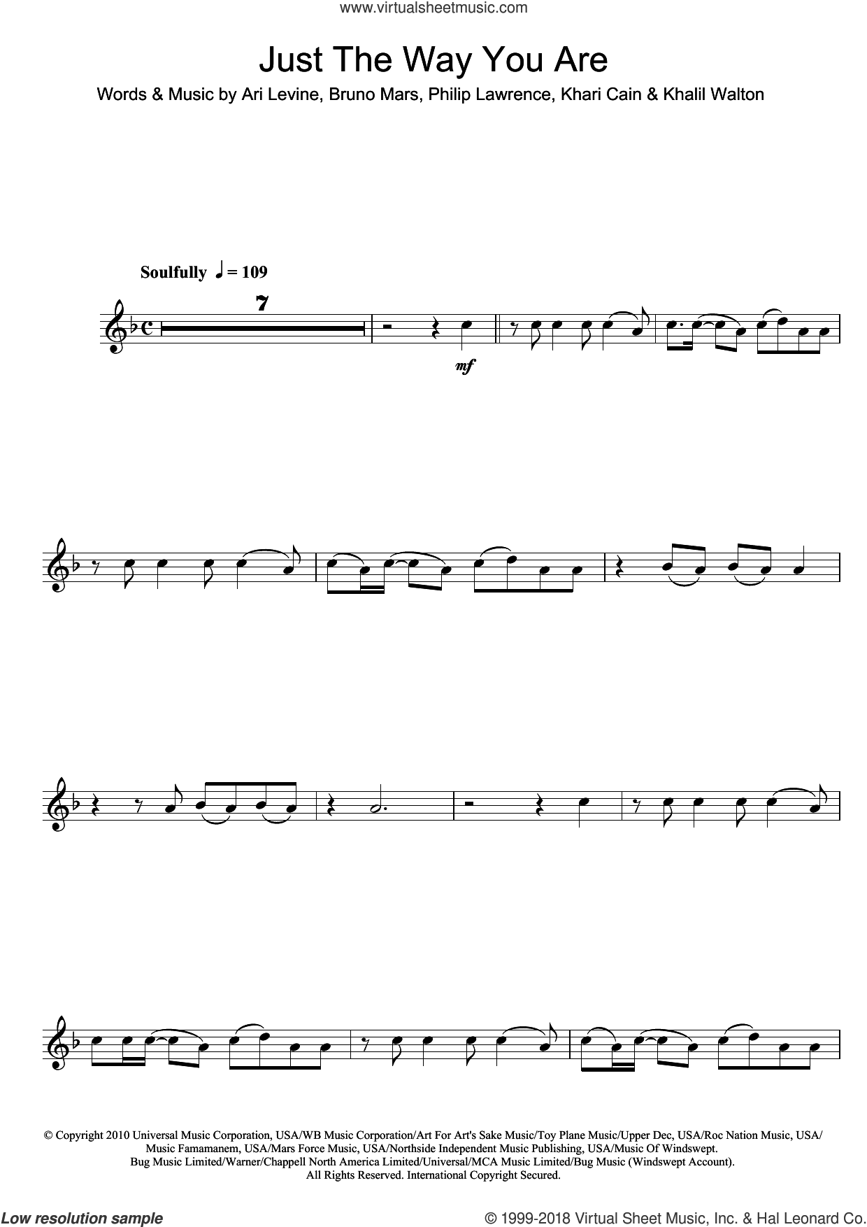 Just The Way You Are sheet music for flute solo by Philip Lawrence, Ari Levine, Bruno Mars, Khalil Walton and Khari Cain. Score Image Preview.