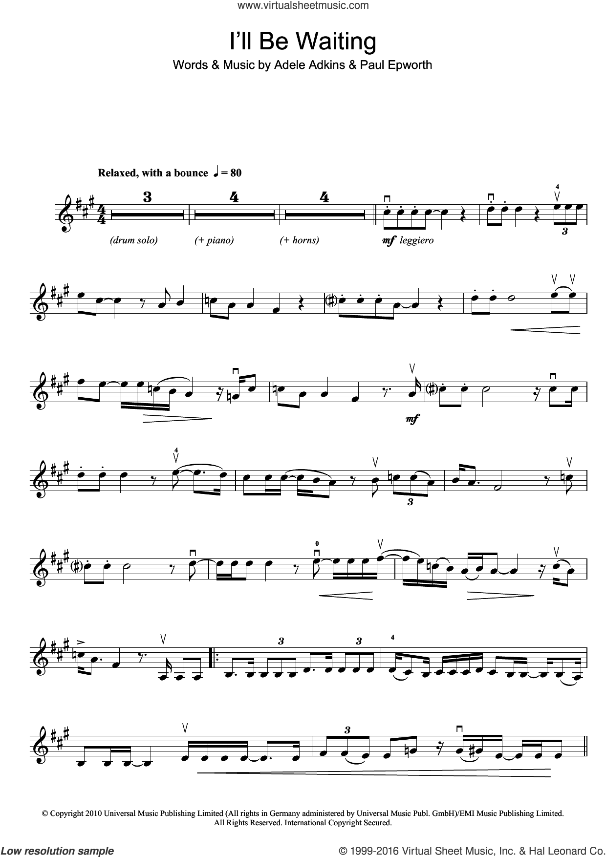 I'll Be Waiting sheet music for violin solo by Adele and Paul Epworth. Score Image Preview.