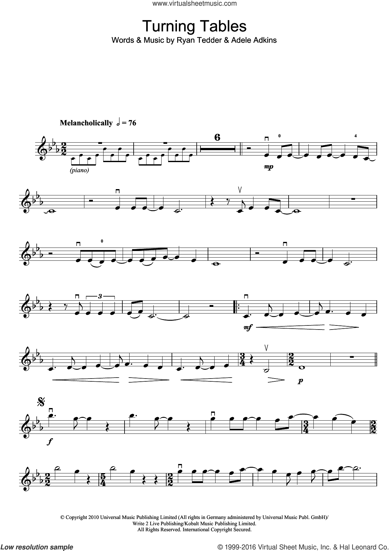 Turning Tables sheet music for violin solo by Adele and Ryan Tedder. Score Image Preview.
