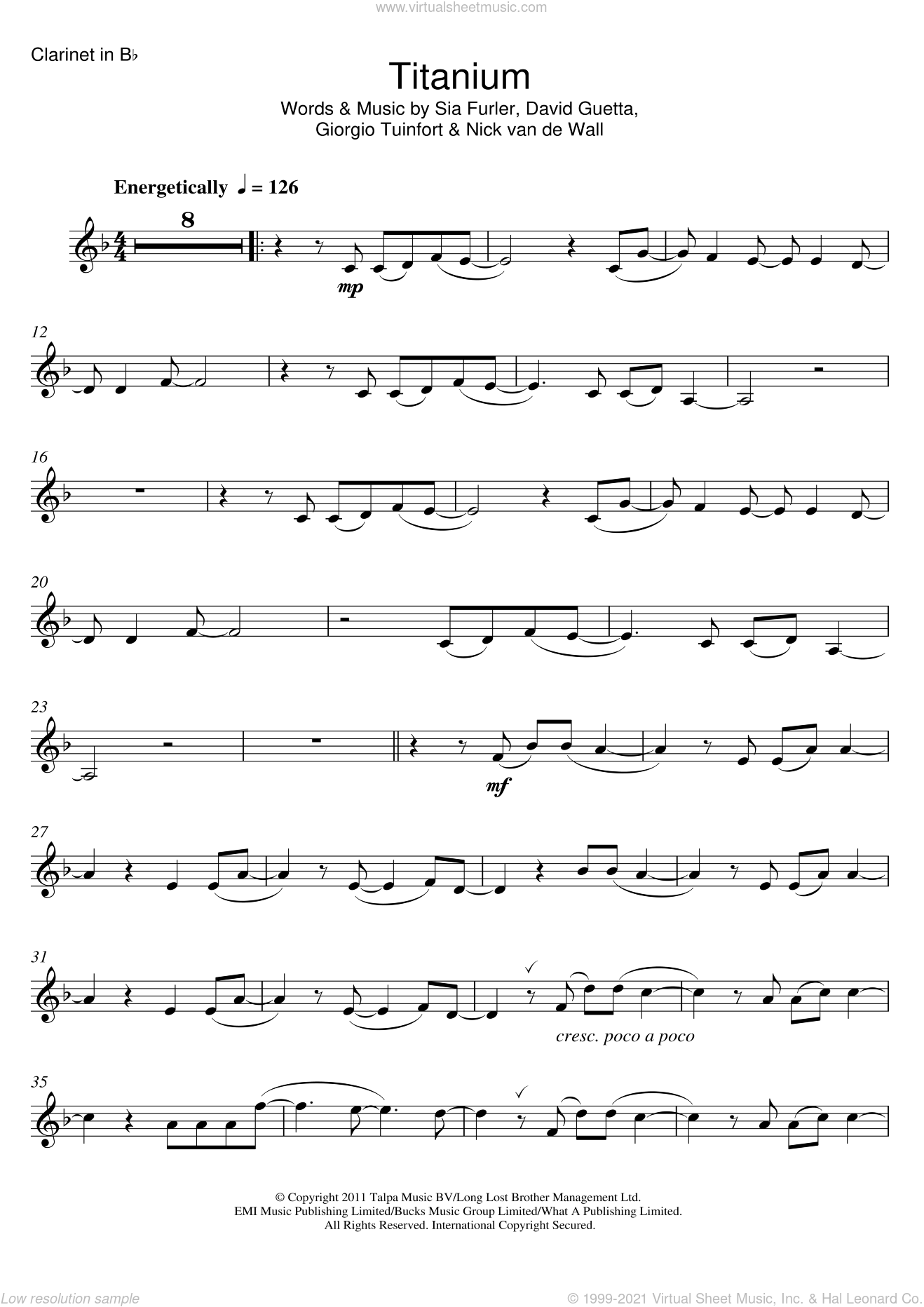Titanium (featuring Sia) sheet music for clarinet solo by David Guetta, Sia, Giorgio Tuinfort, Nick van de Wall and Sia Furler, intermediate skill level