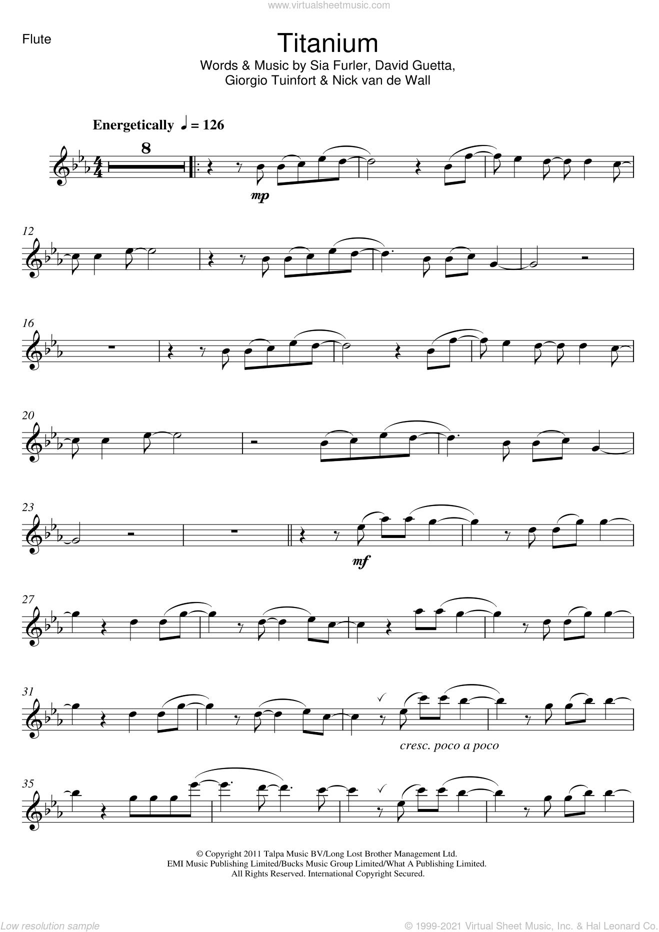 Titanium (featuring Sia) sheet music for flute solo by David Guetta, Sia, Giorgio Tuinfort, Nick van de Wall and Sia Furler, intermediate skill level