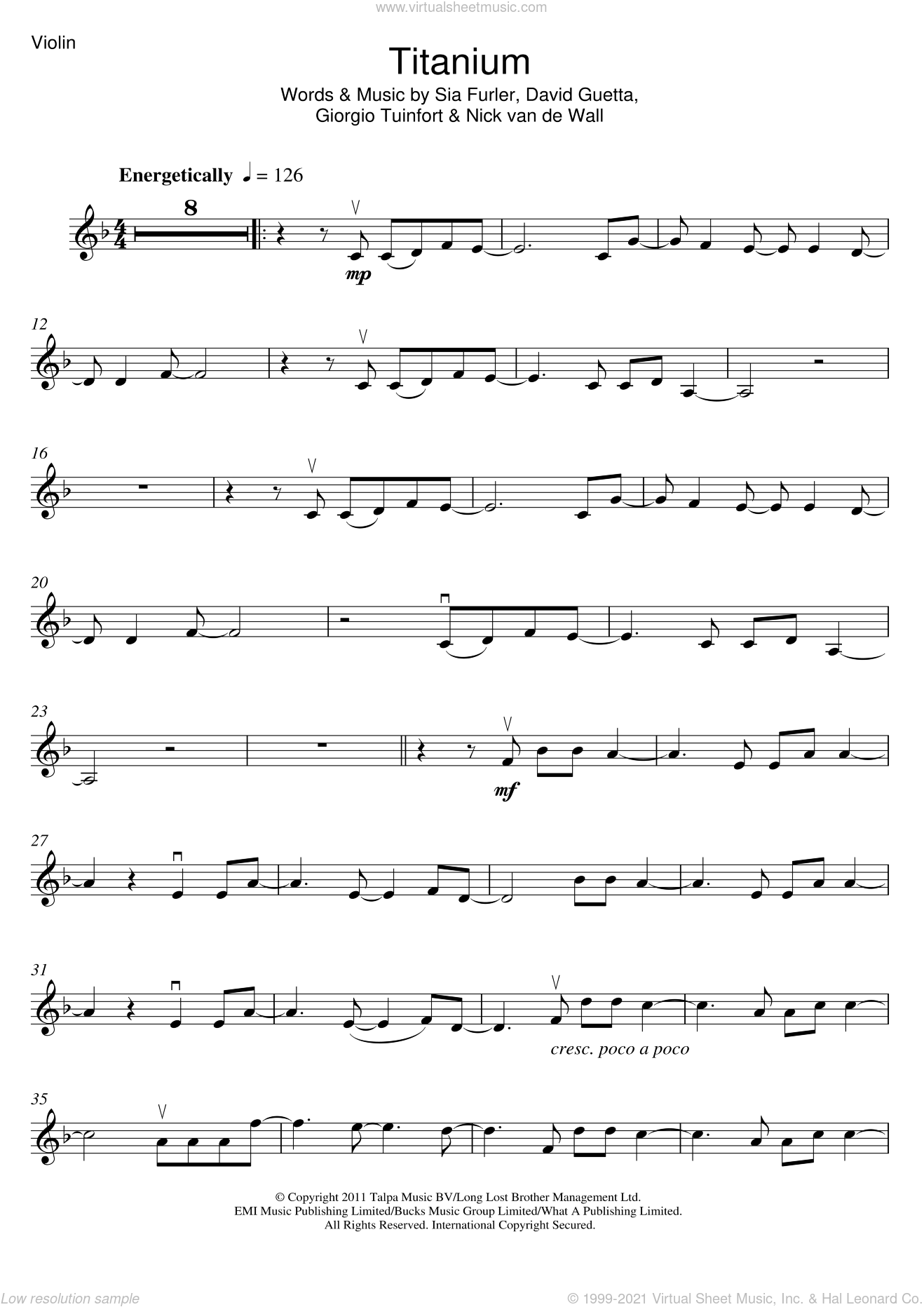 Titanium (featuring Sia) sheet music for violin solo by David Guetta and Sia, intermediate. Score Image Preview.