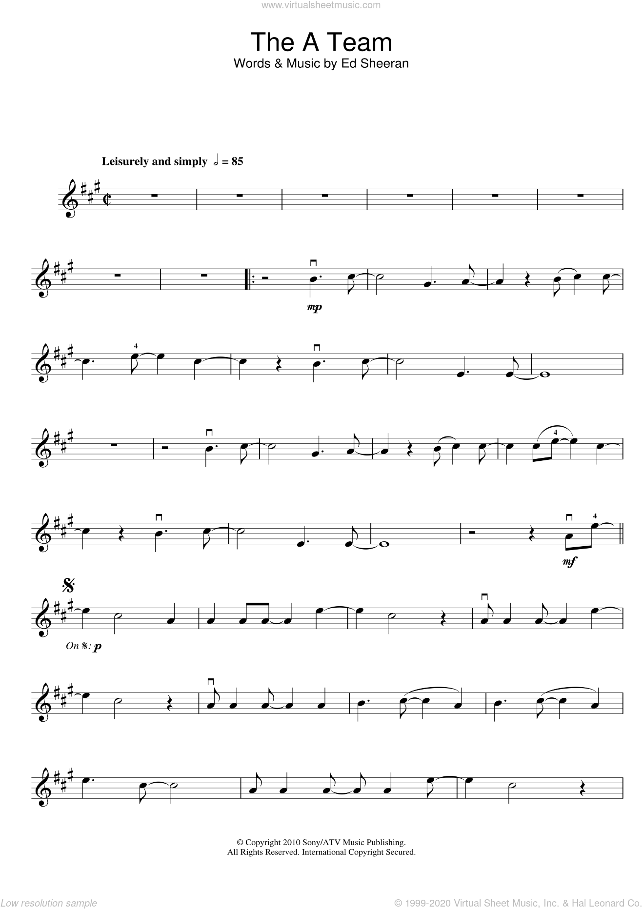 The A Team sheet music for violin solo by Ed Sheeran, intermediate skill level