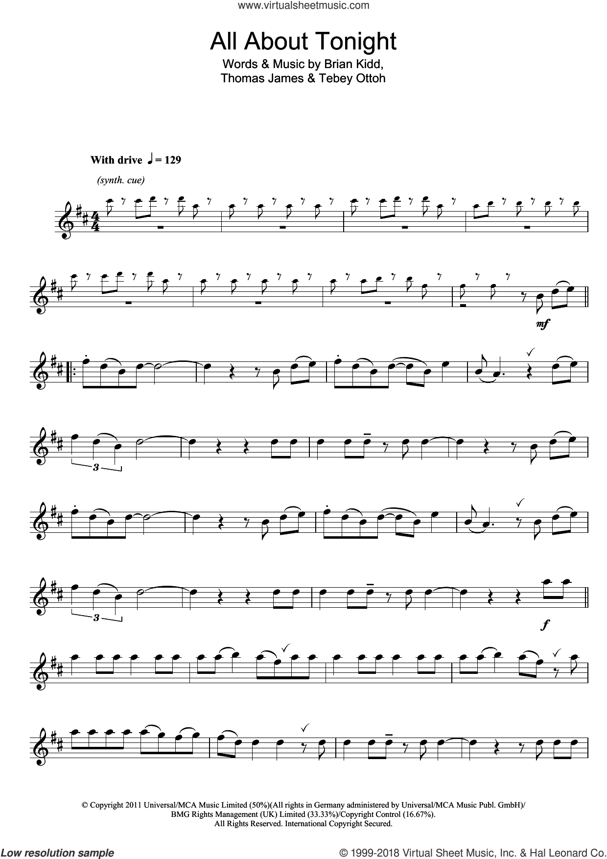 All About Tonight sheet music for flute solo by Pixie Lott. Score Image Preview.