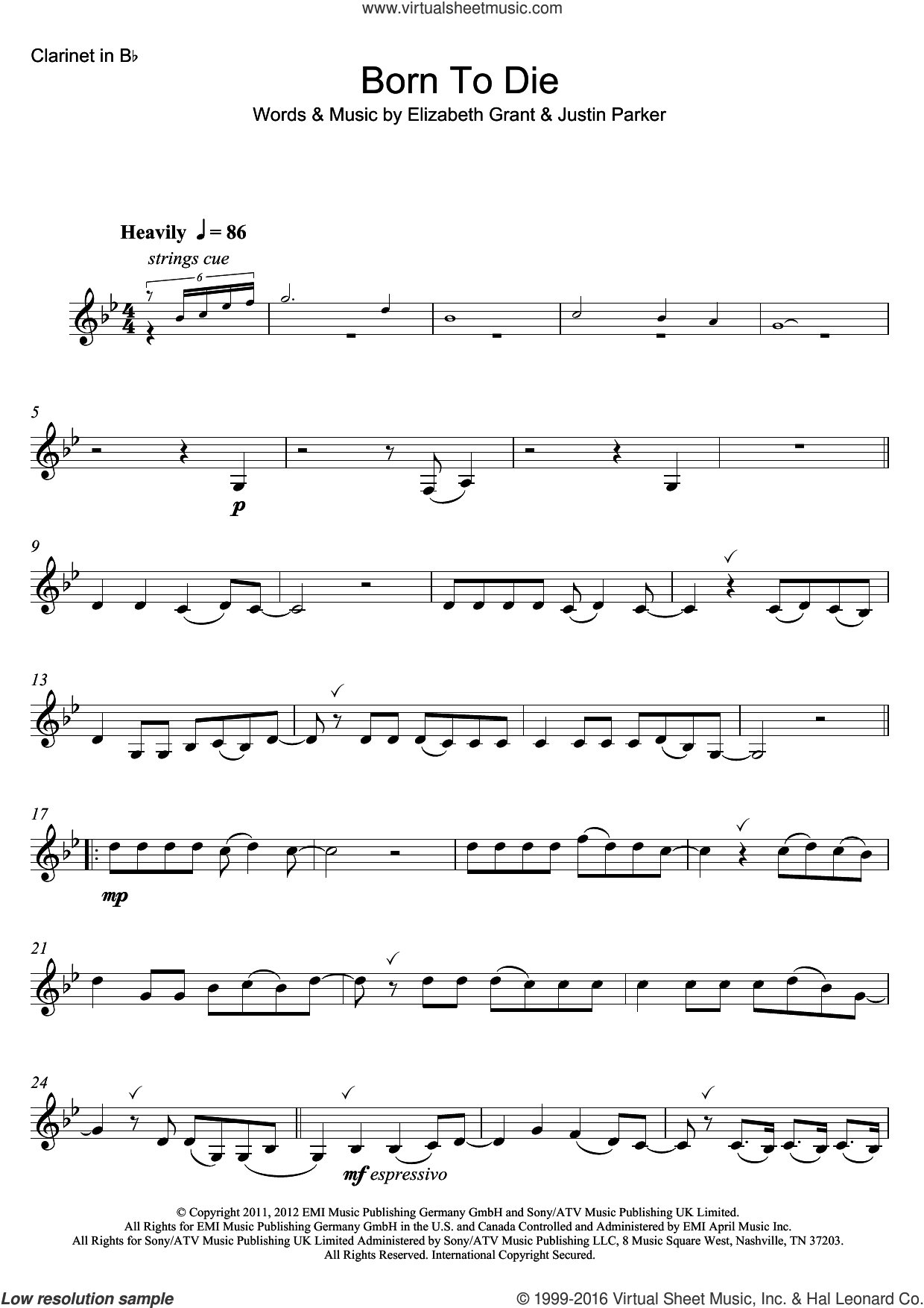 Born To Die sheet music for clarinet solo by Lana Del Rey, Elizabeth Grant and Justin Parker, intermediate skill level