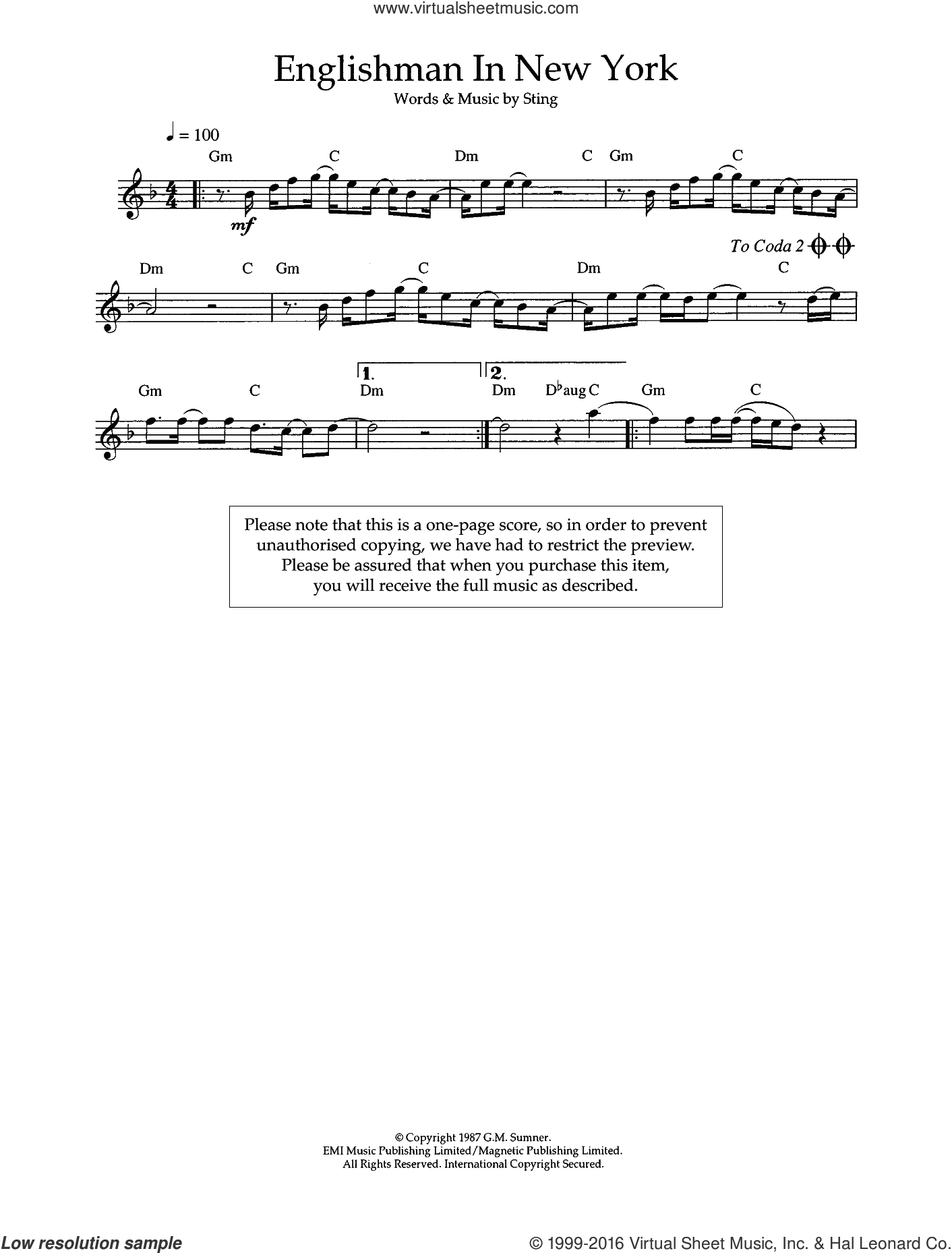 Englishman In New York sheet music for flute solo by Sting. Score Image Preview.