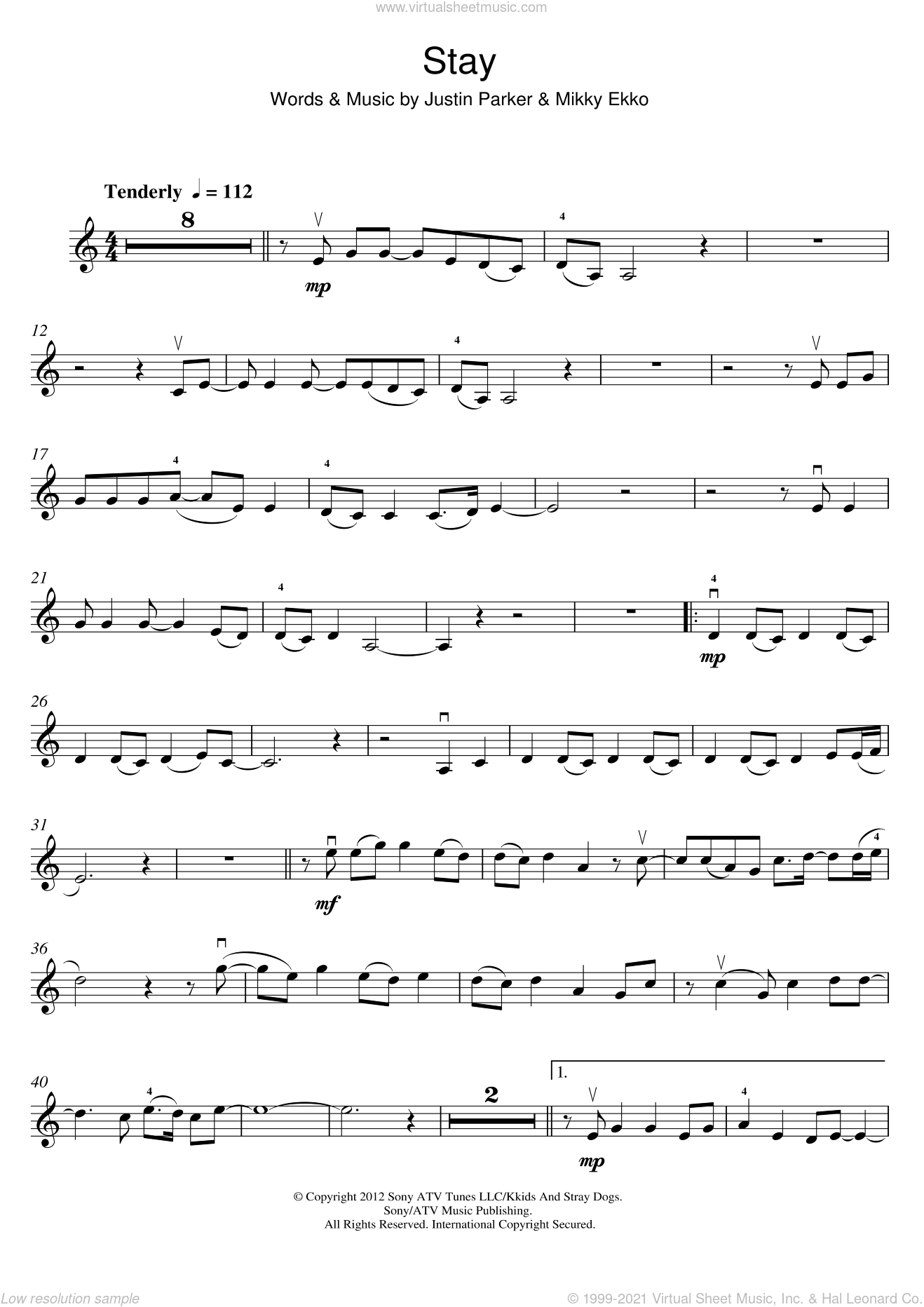 Stay sheet music for violin solo by Mikky Ekko, Rihanna and Justin Parker. Score Image Preview.