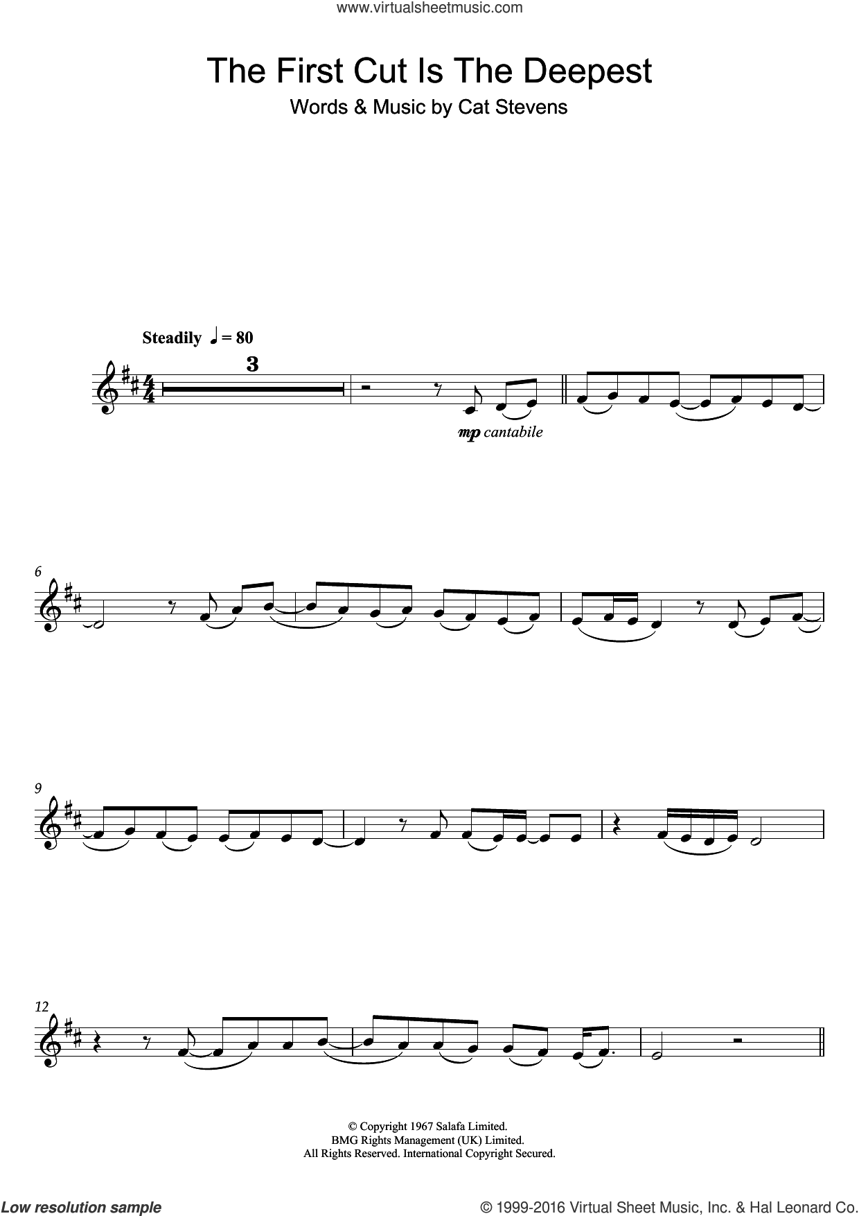 The First Cut Is The Deepest sheet music for clarinet solo by Cat Stevens and Sheryl Crow, intermediate skill level