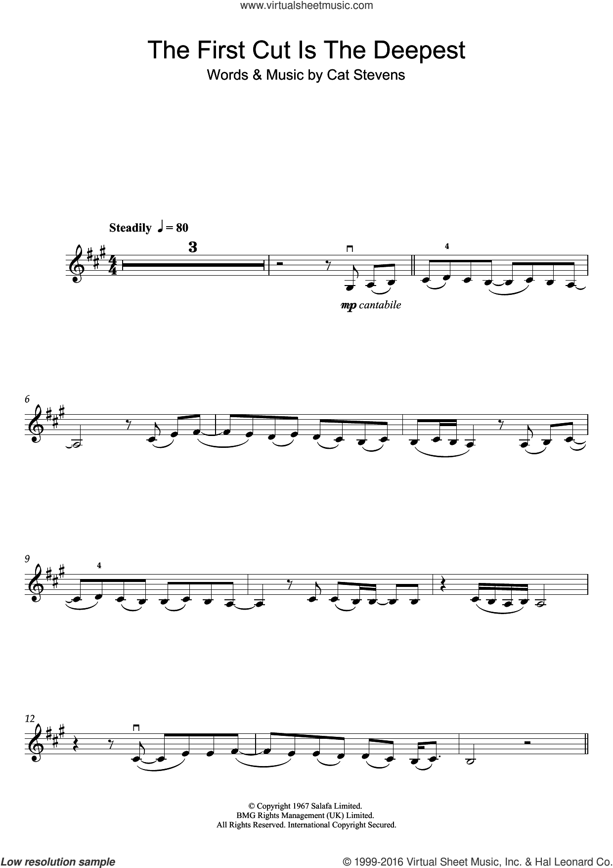 The First Cut Is The Deepest sheet music for violin solo by Cat Stevens and Sheryl Crow, intermediate skill level