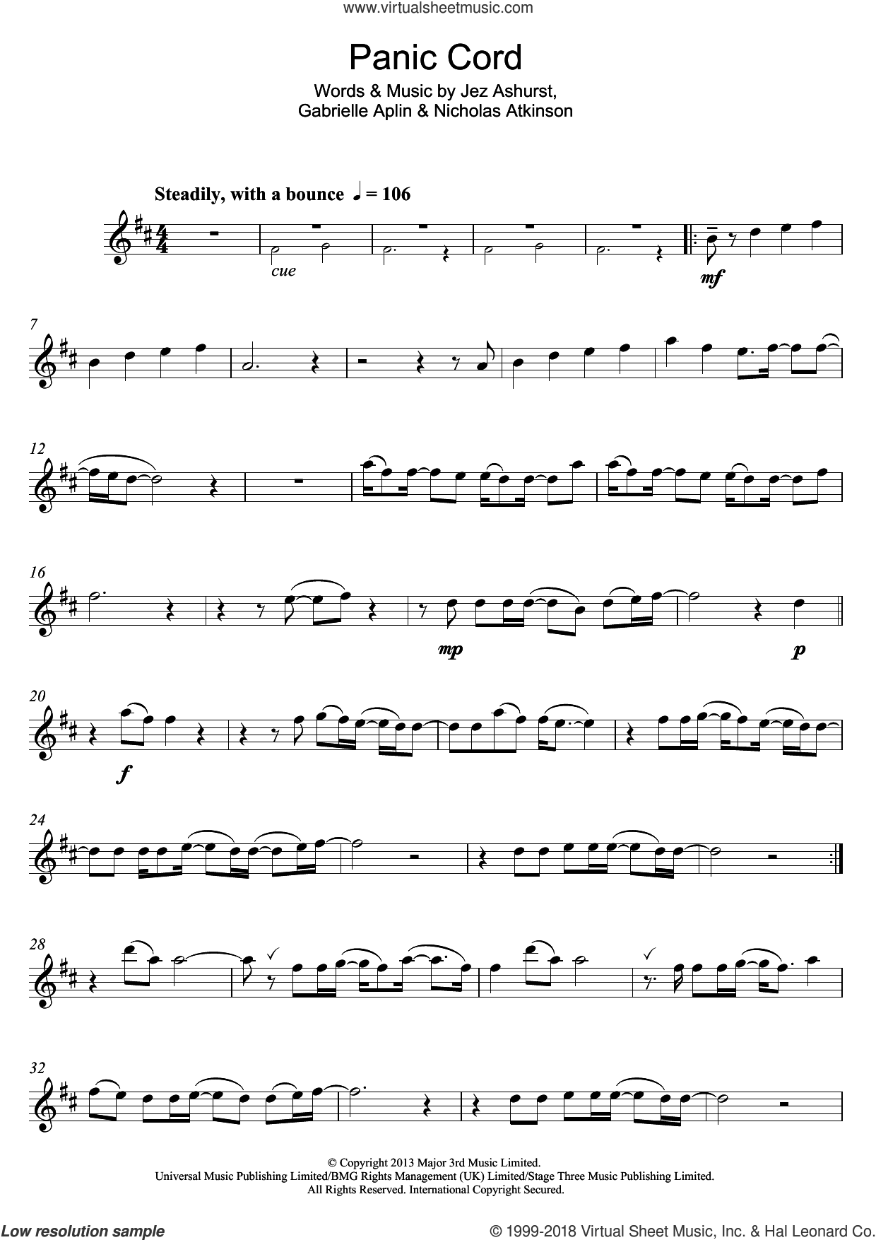 Panic Cord sheet music for flute solo by Nicholas Atkinson, Gabrielle Aplin and Jez Ashurst. Score Image Preview.