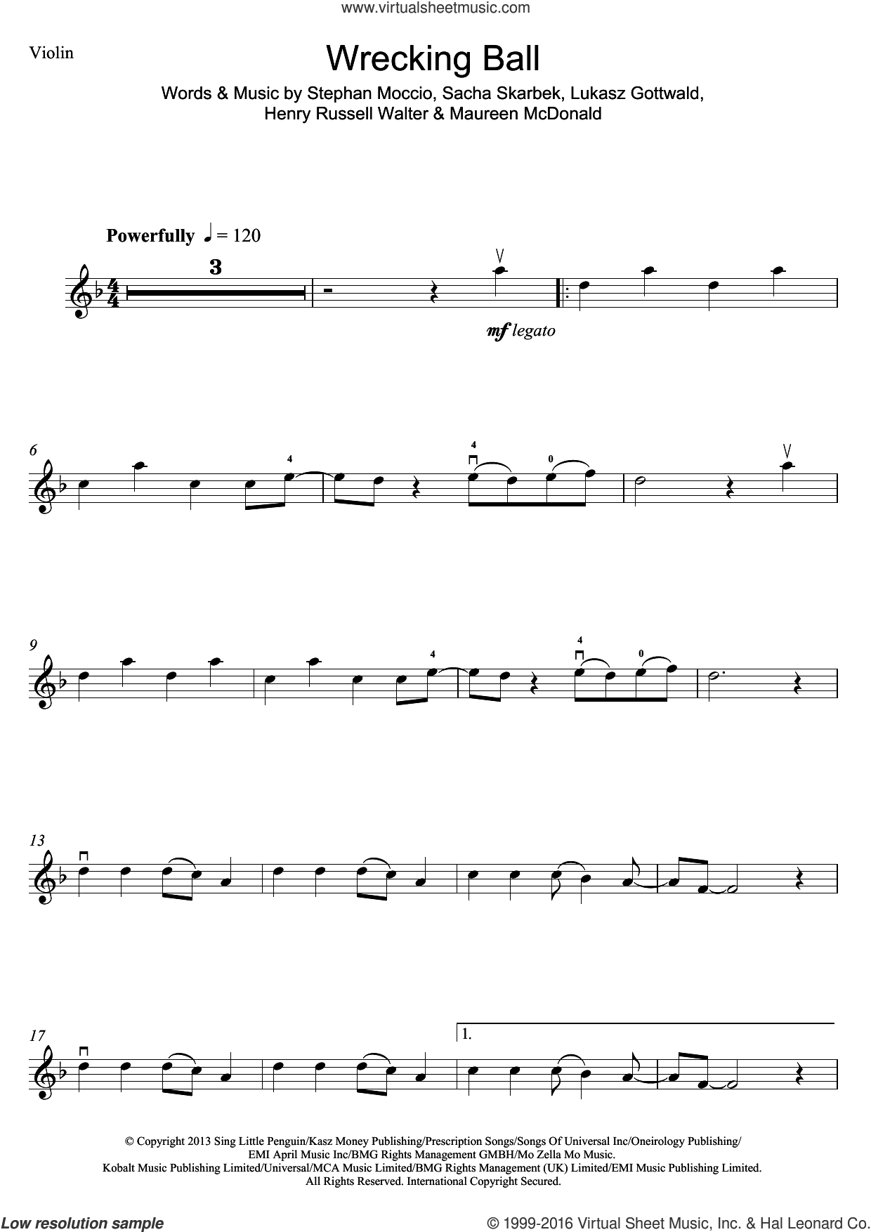 Wrecking Ball sheet music for violin solo by Stephan Moccio, Miley Cyrus, Henry Russell Walter, Lukasz Gottwald, Maureen McDonald and Sacha Skarbek. Score Image Preview.