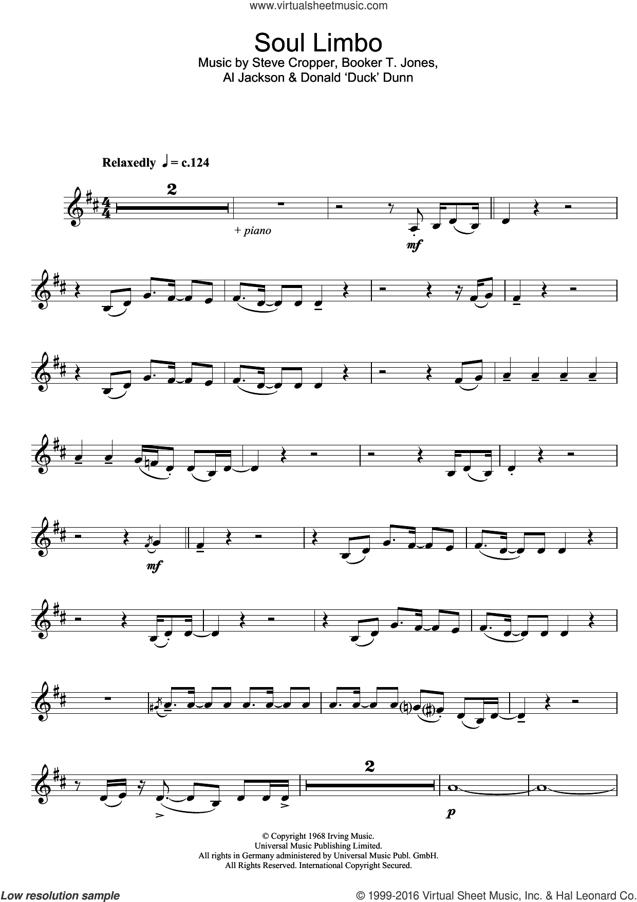 Soul Limbo sheet music for clarinet solo by Booker T. and The MGs, Al Jackson, Jr., Booker T. Jones, Duck Dunn and Steve Cropper, intermediate. Score Image Preview.