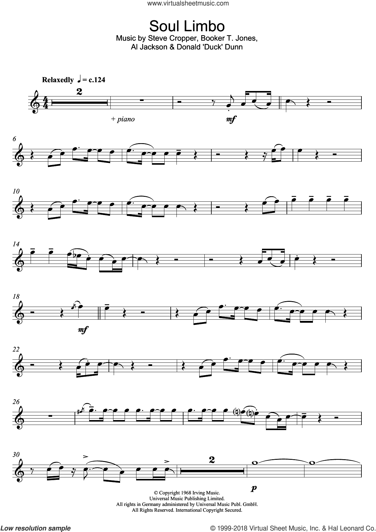 Soul Limbo sheet music for flute solo by Booker T. and The MGs, Al Jackson, Jr., Booker T. Jones, Duck Dunn and Steve Cropper, intermediate. Score Image Preview.