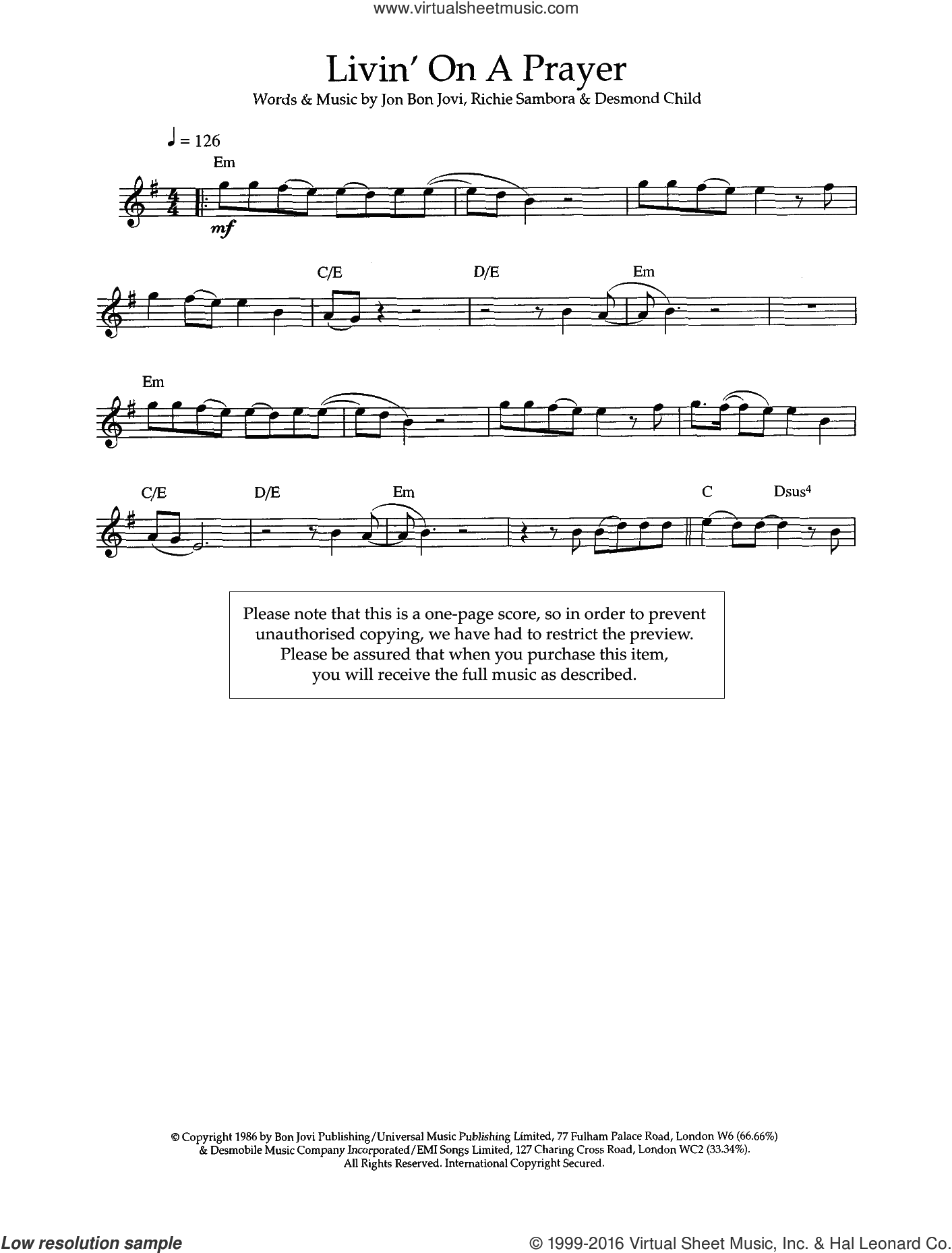 Livin' On A Prayer sheet music for flute solo by Bon Jovi, Desmond Child and Richie Sambora, intermediate flute. Score Image Preview.