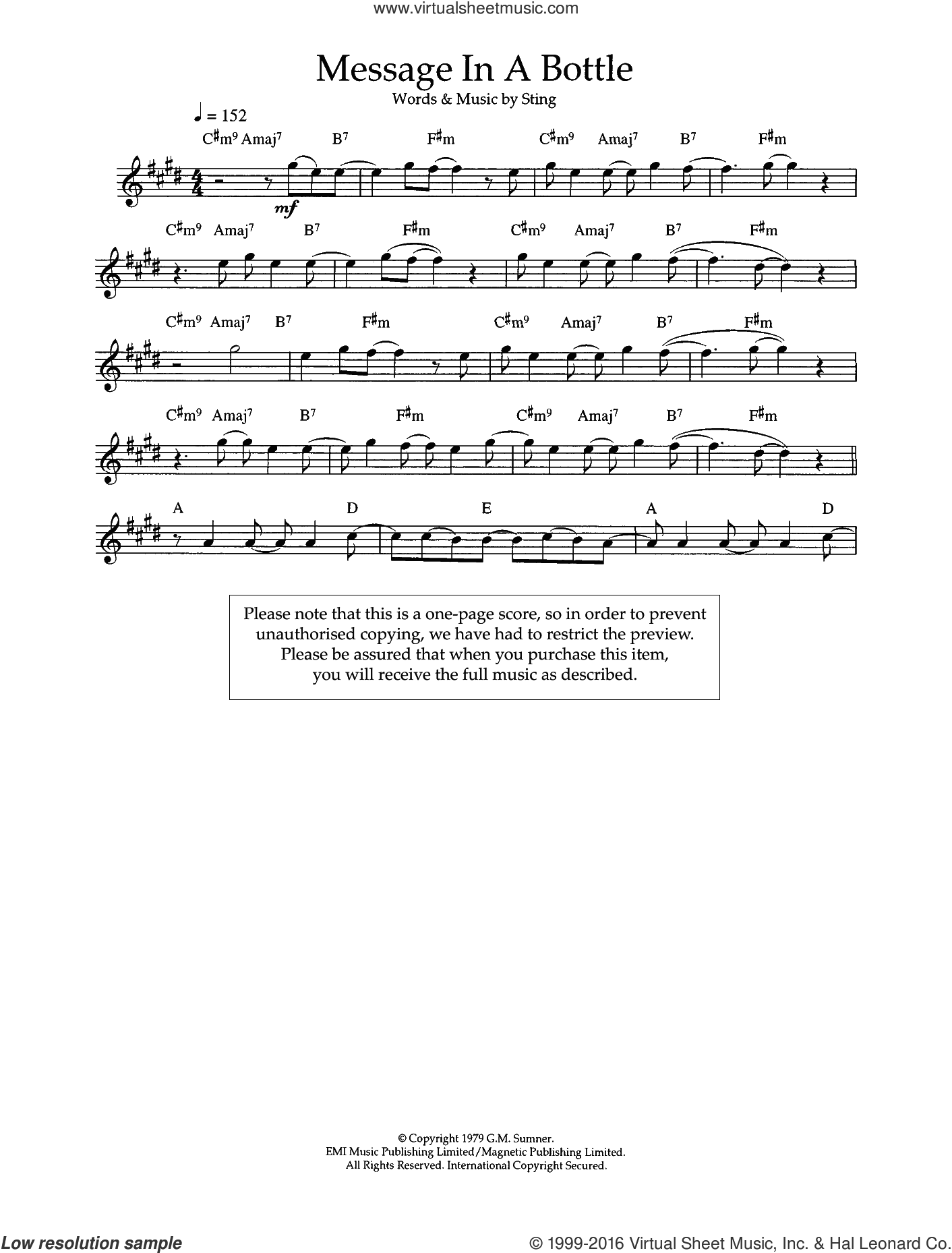 Message In A Bottle sheet music for flute solo by Sting and The Police. Score Image Preview.