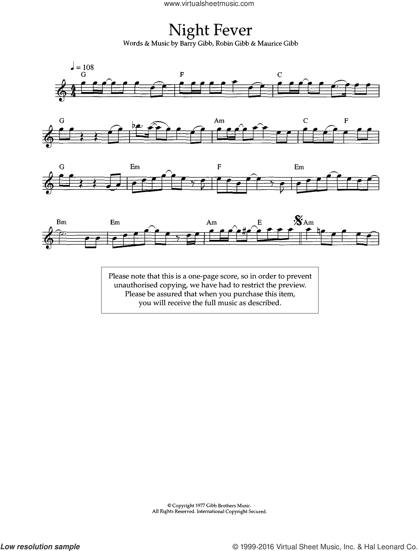 Night Fever sheet music for flute solo by Bee Gees, Barry Gibb, Maurice Gibb and Robin Gibb. Score Image Preview.