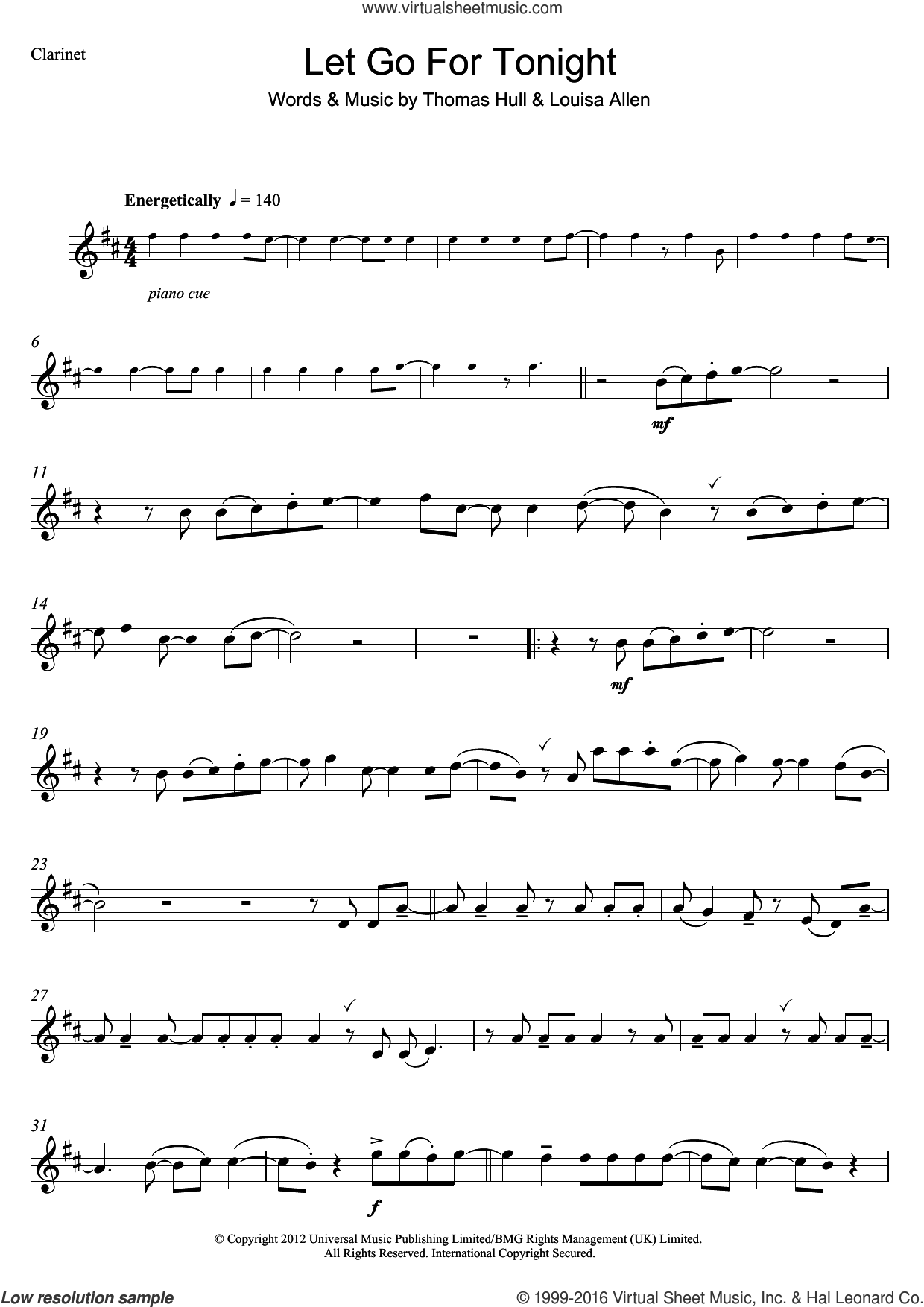 Let Go For Tonight sheet music for clarinet solo by Foxes, Louisa Allen and Tom Hull, intermediate skill level
