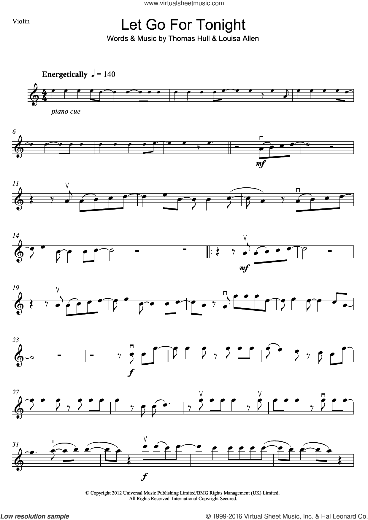 Let Go For Tonight sheet music for violin solo by Foxes, Louisa Allen and Tom Hull, intermediate. Score Image Preview.