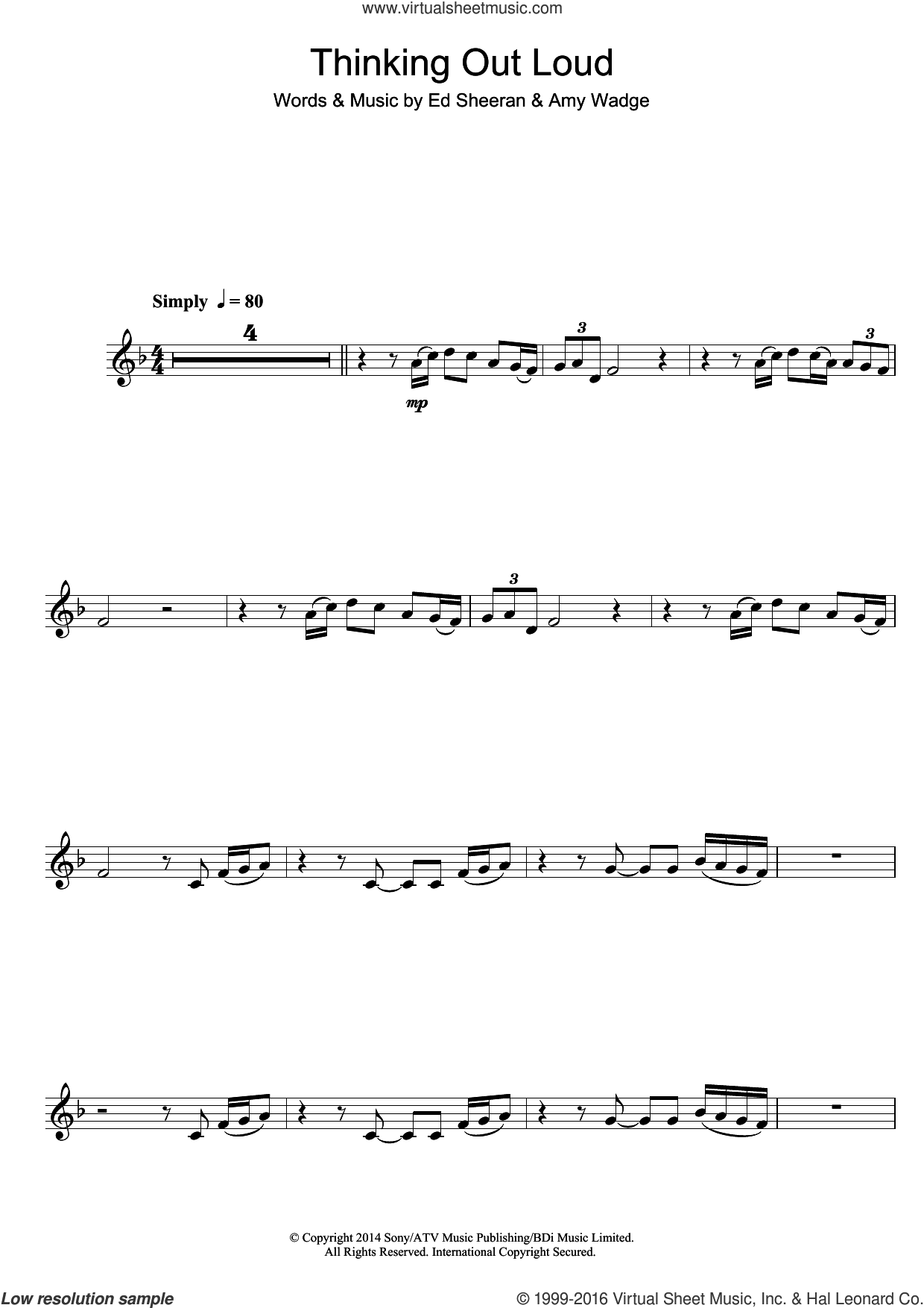Thinking Out Loud sheet music for clarinet solo by Ed Sheeran and Amy Wadge, intermediate skill level
