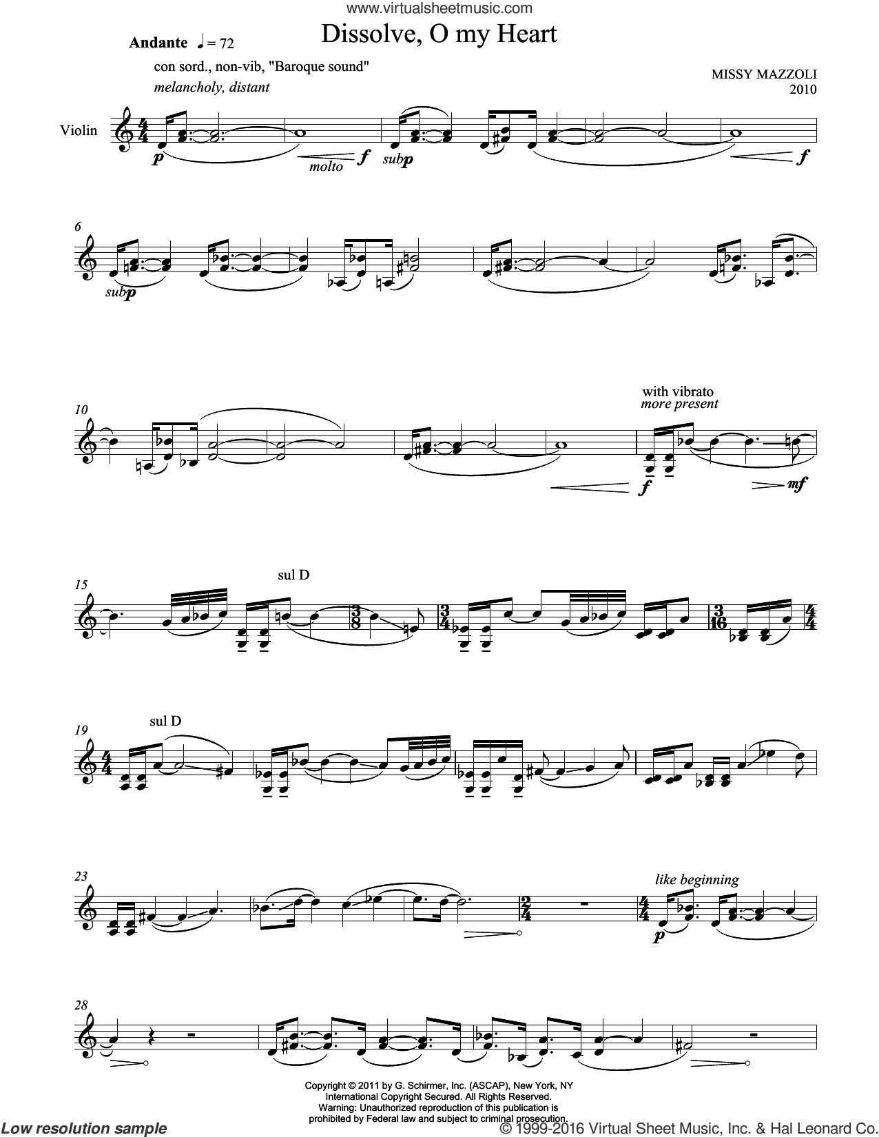 Dissolve, O My Heart sheet music for violin solo by Missy Mazzoli, classical score, intermediate. Score Image Preview.