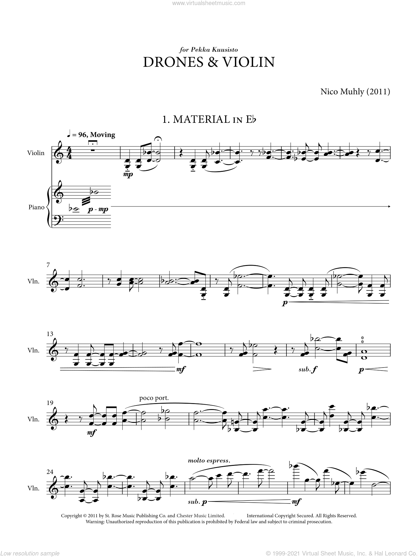Drones And Violin sheet music for violin solo by Nico Muhly. Score Image Preview.