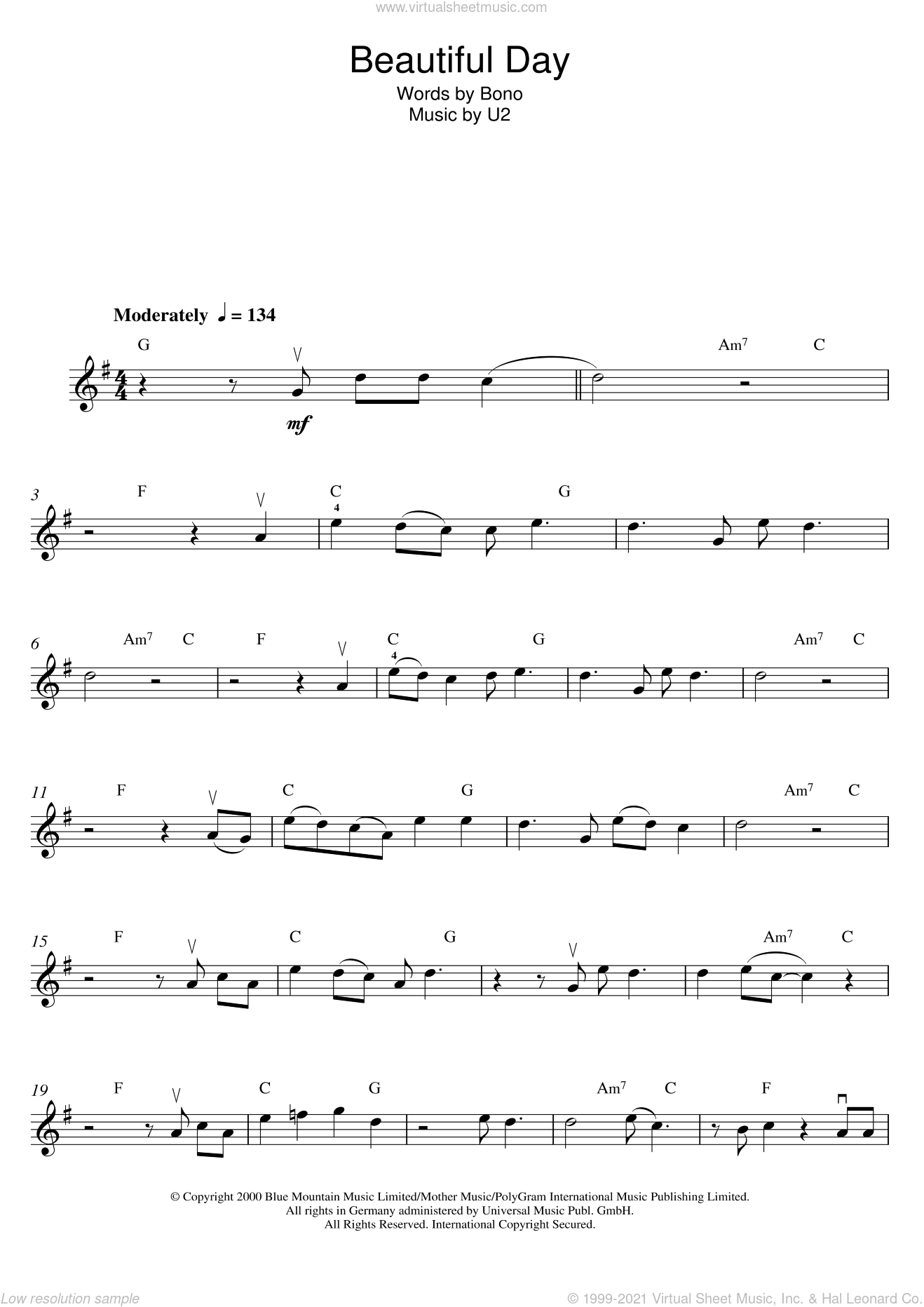 Beautiful Day sheet music for violin solo by U2 and Bono, intermediate skill level