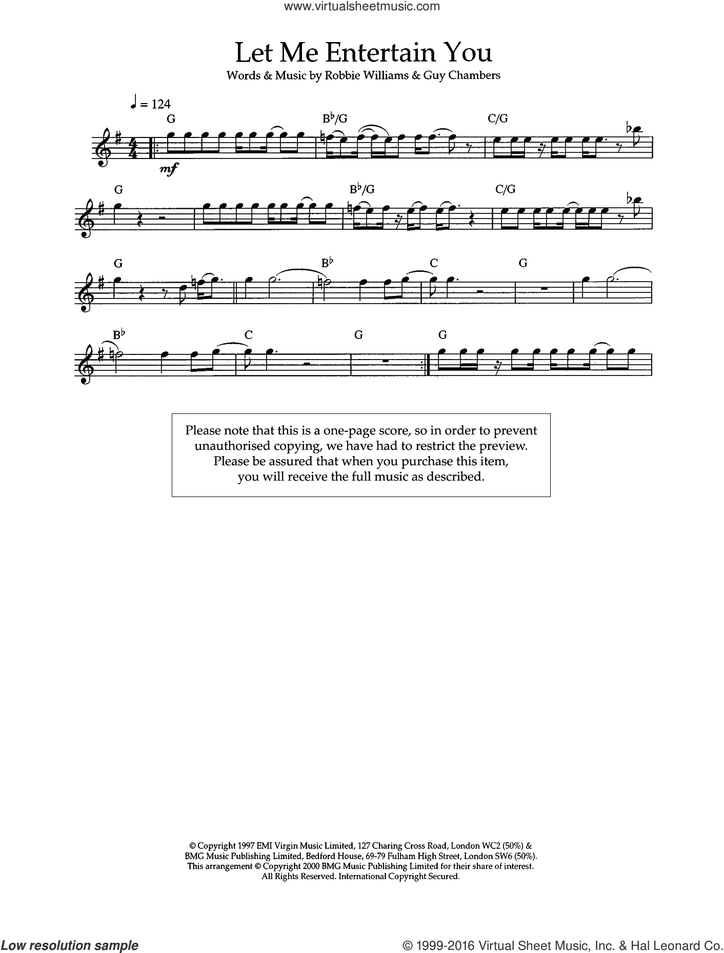 Let Me Entertain You sheet music for flute solo by Robbie Williams and Guy Chambers, intermediate skill level