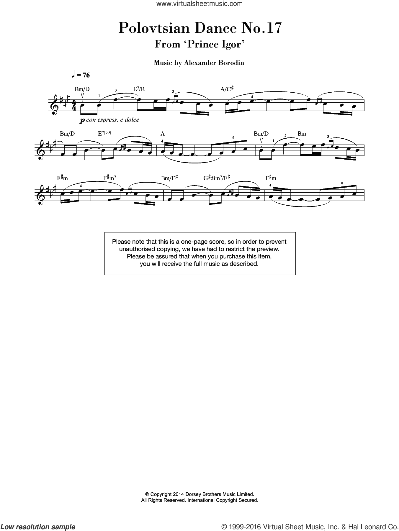 Polovtsian Dance No.17 (from 'Prince Igor') sheet music for violin solo by Alexander Borodin, classical score, intermediate skill level